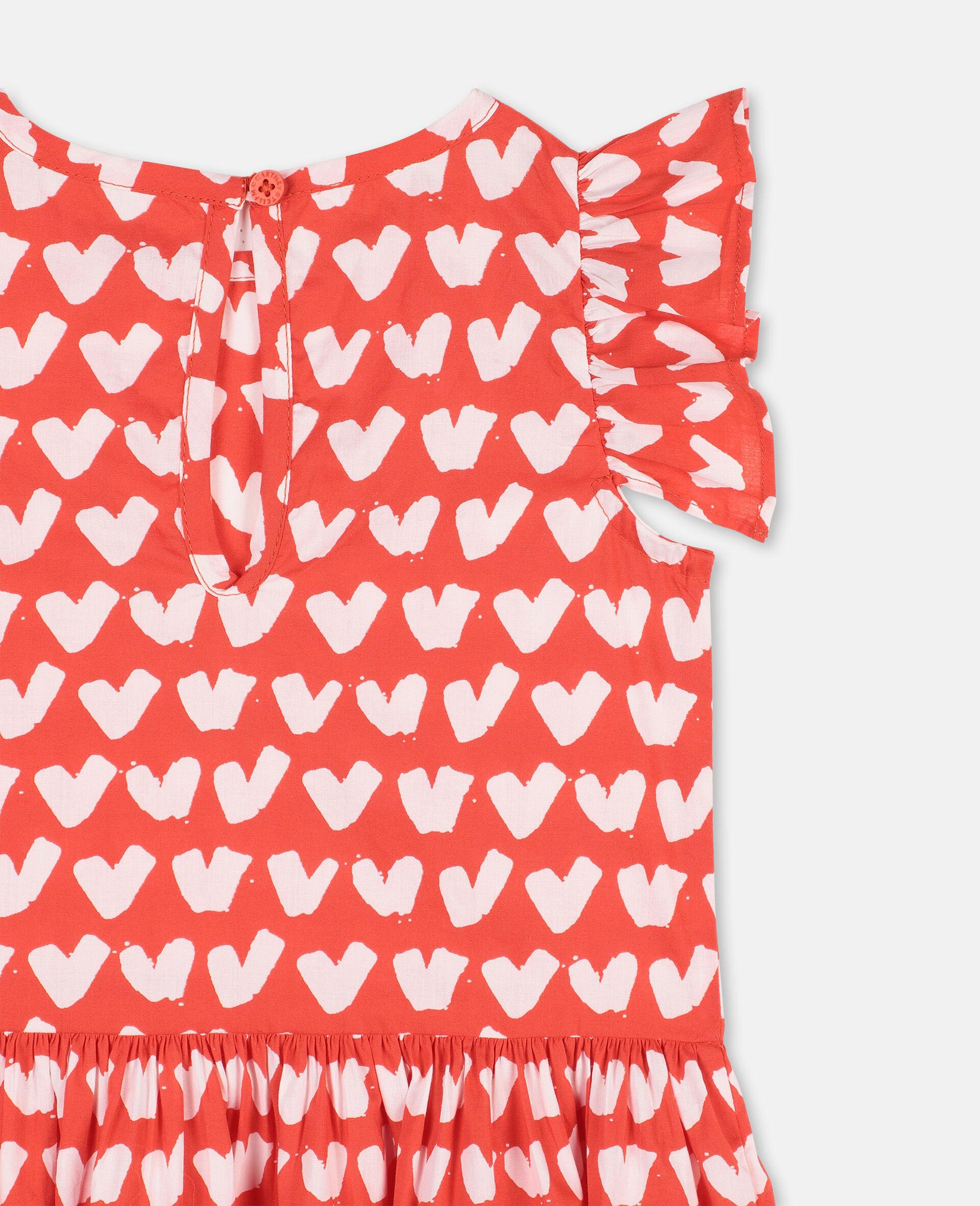 Robe en coton avec imprimé cœurs -Rouge-large image number 2