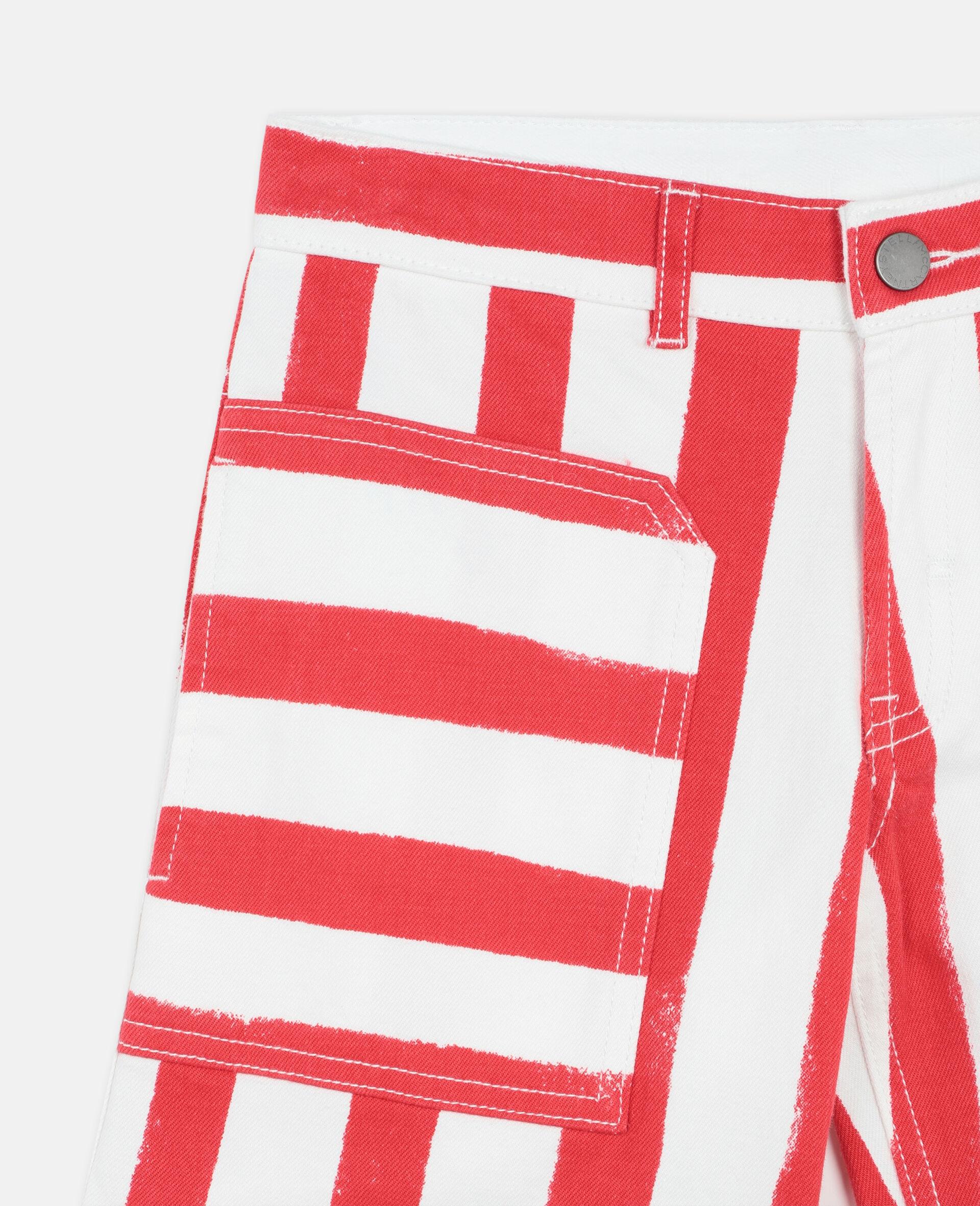 Striped Denim Shorts -Multicolour-large image number 1