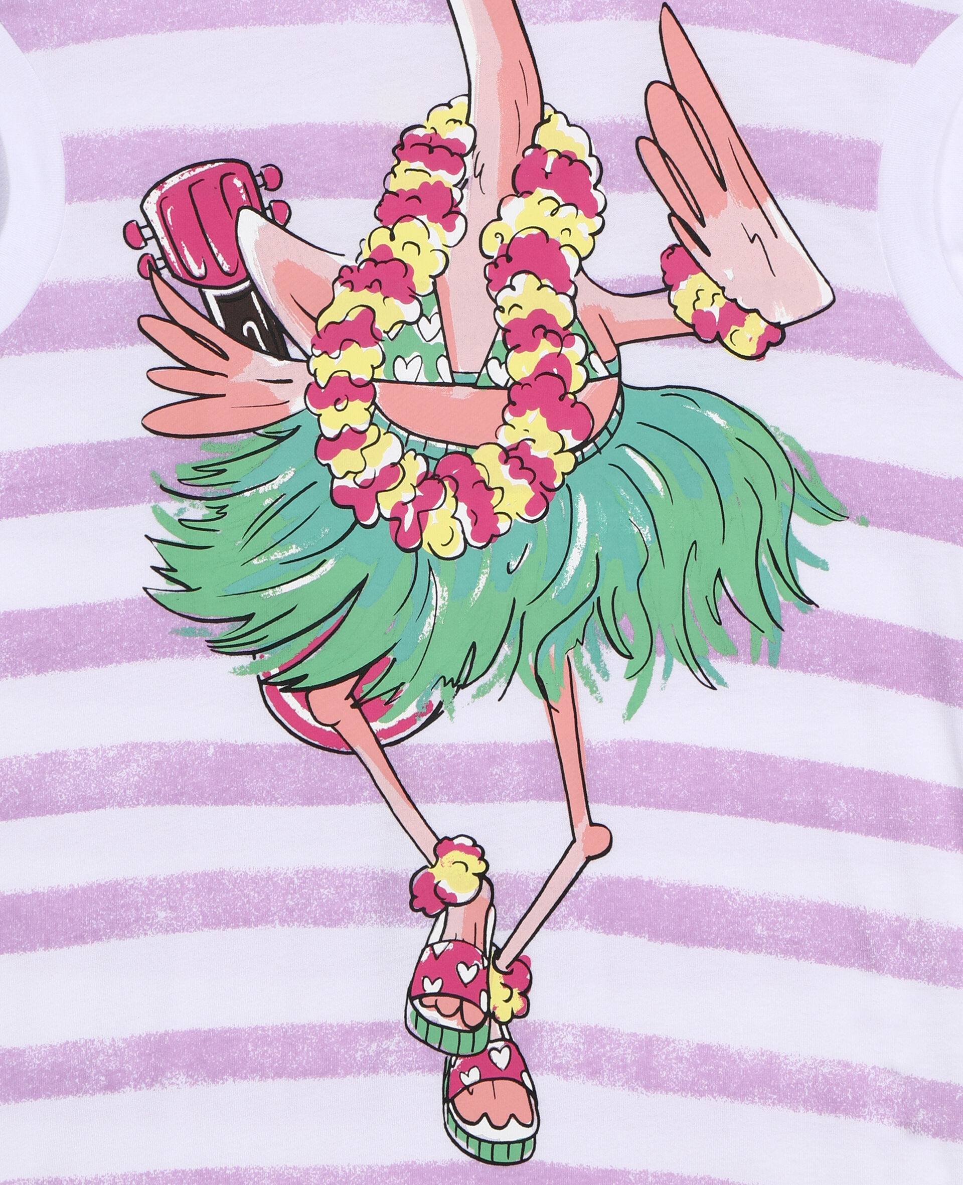 Trompe-L'Oeil-Baumwollkleid mit Flamingos-Weiß-large image number 1