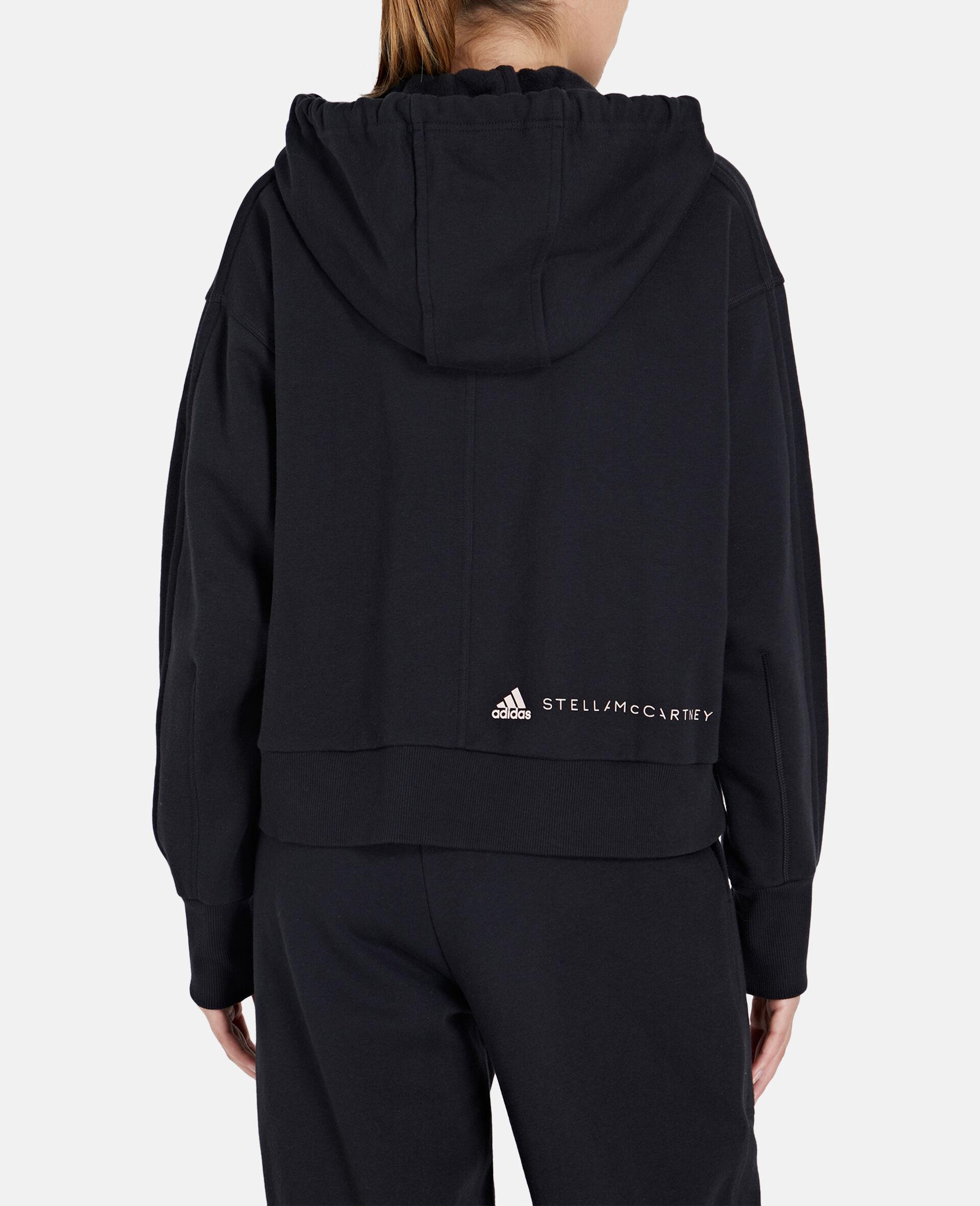 Black Full-zipper Cropped Hoodie-Black-large image number 2