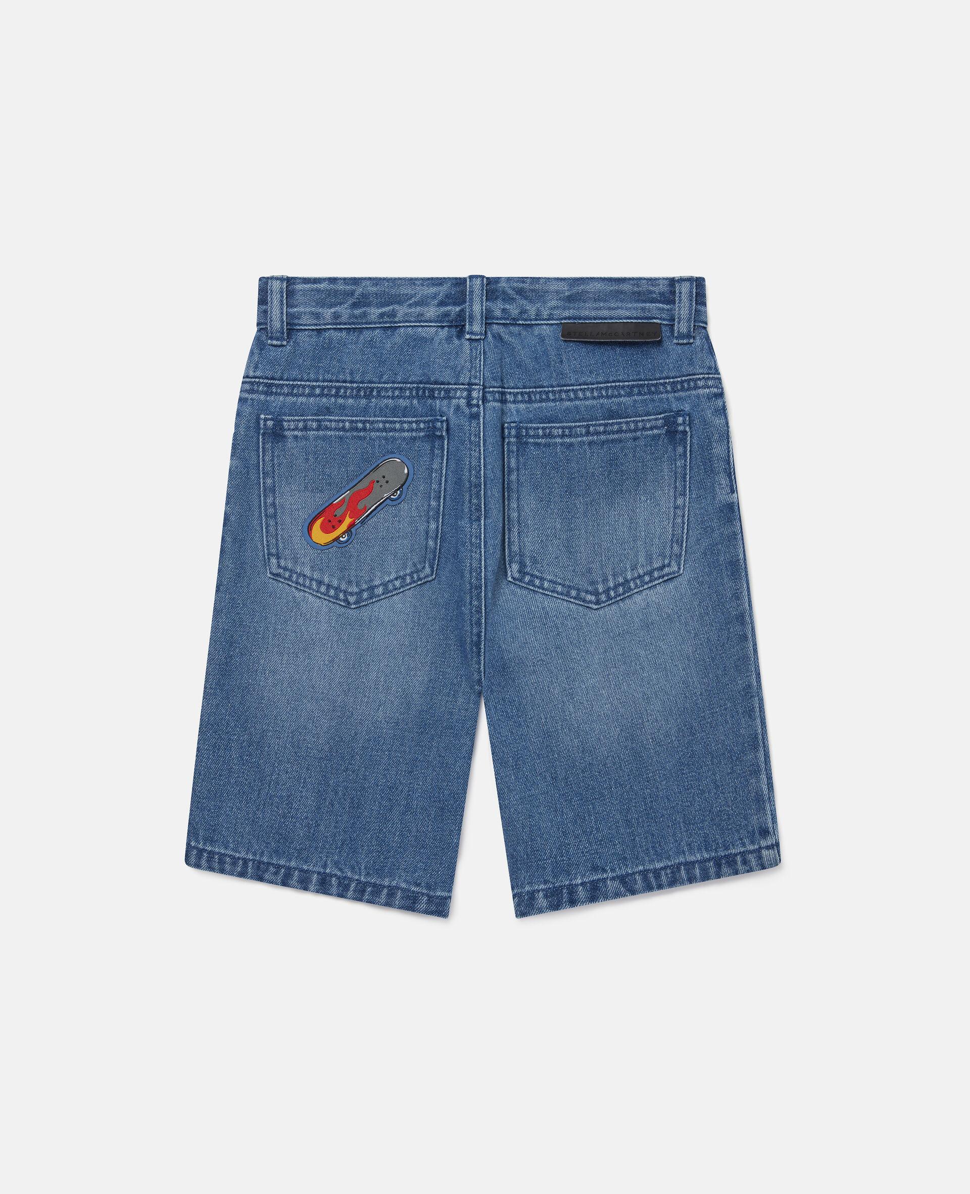 Skates Badges Denim Shorts-Blue-large image number 3