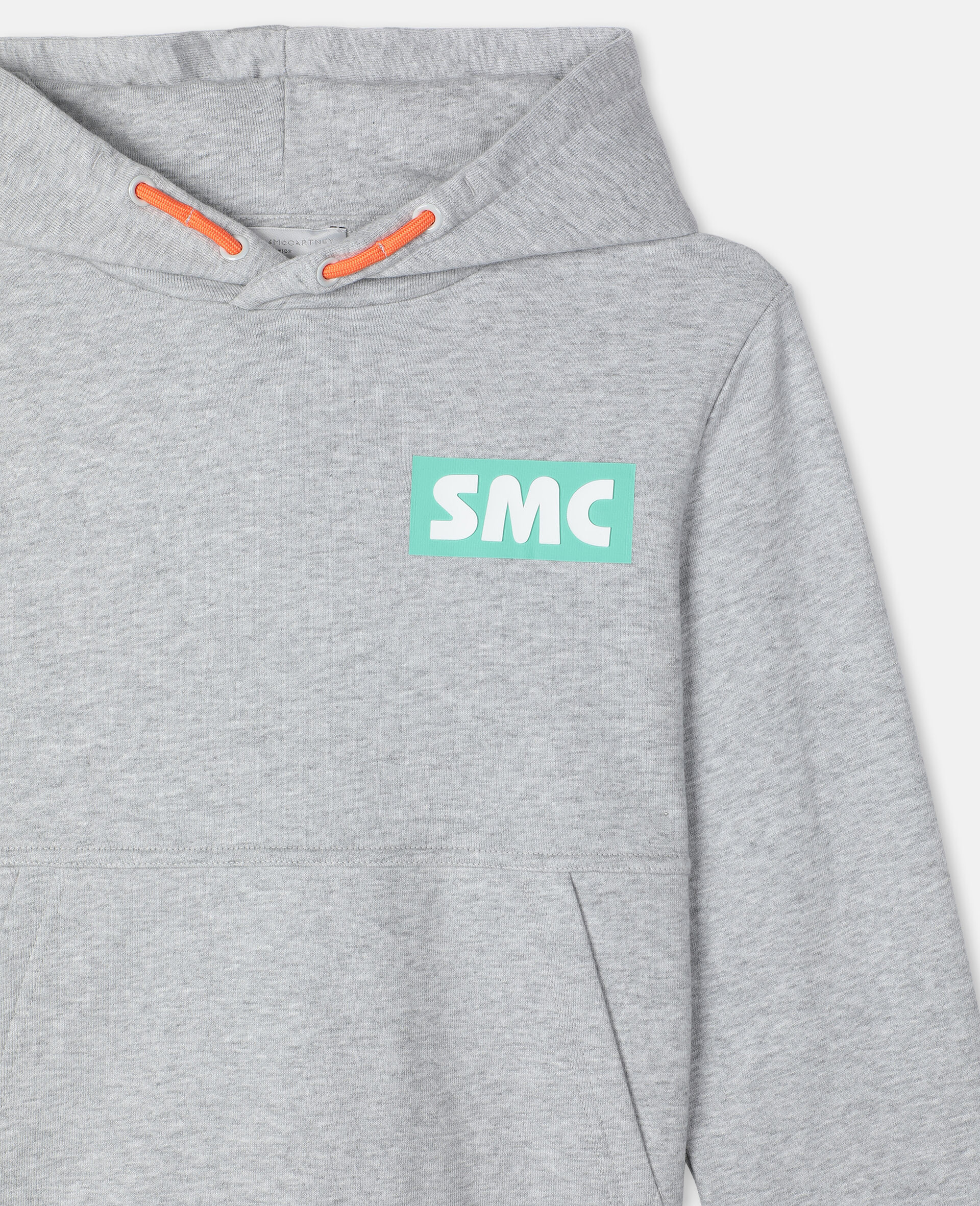 Oversize Logo Badge Cotton Sport Hoodie -Grey-large image number 1