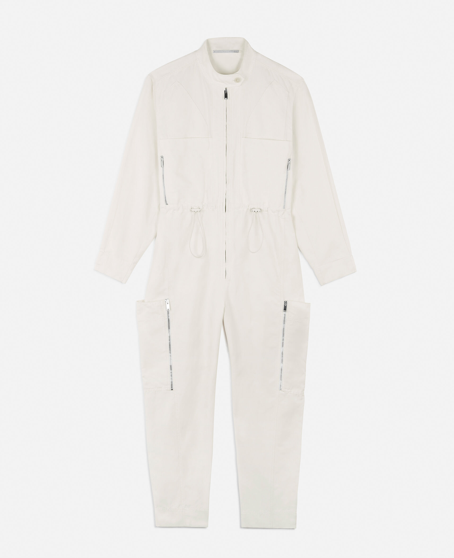Alessia Compact Cotton Jumpsuit-White-large image number 0