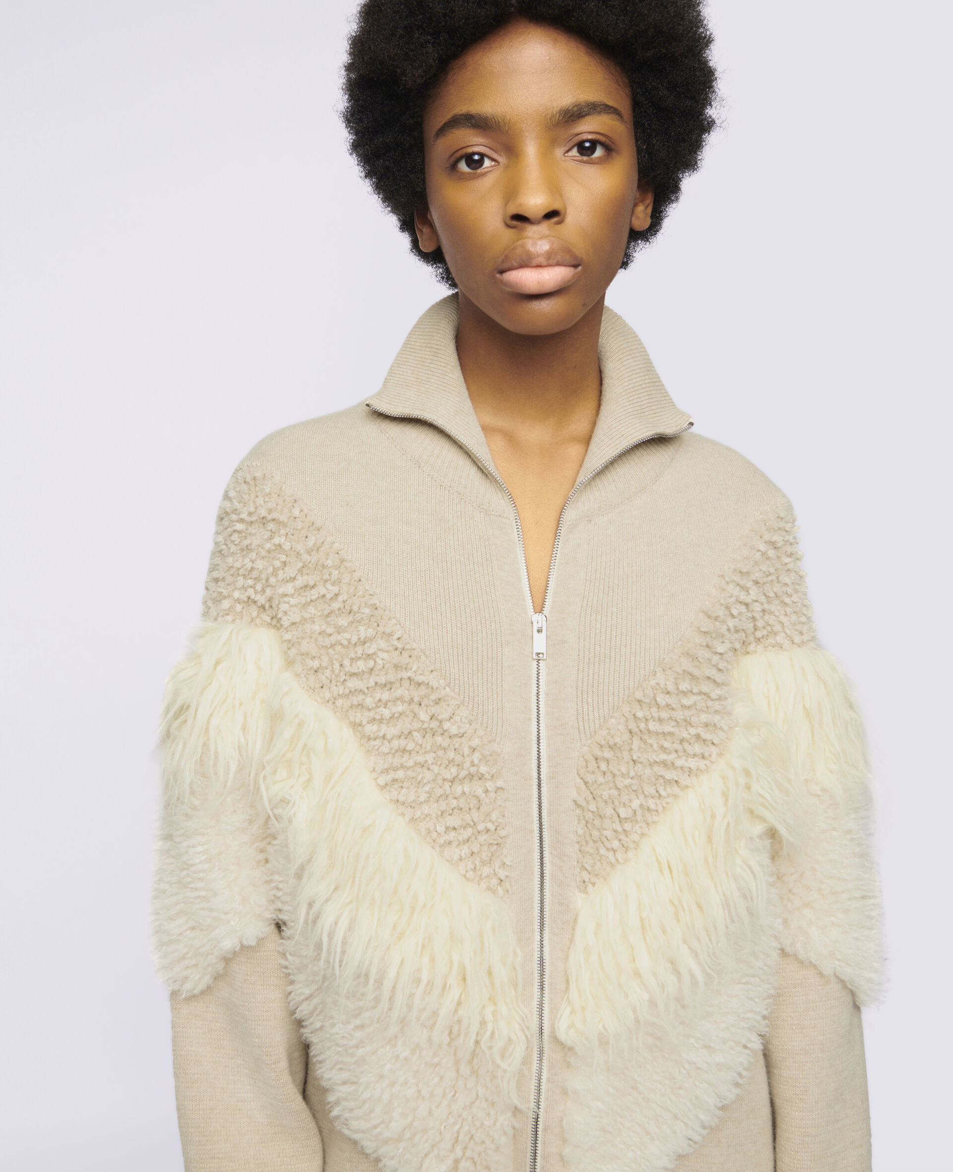 Giacca in Maglia FFF  -Beige-large image number 3