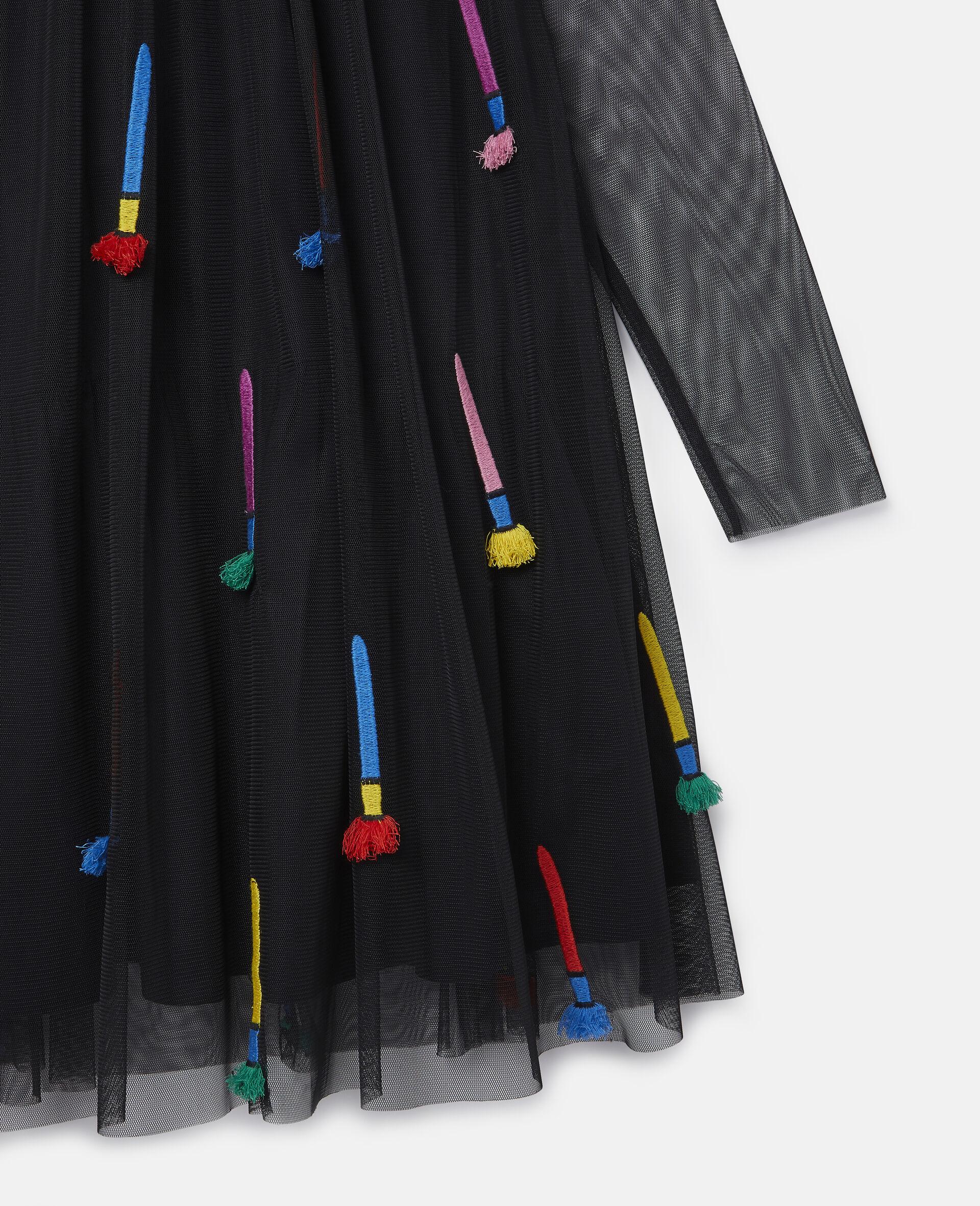 Kleid aus Tüll mit Pinsel-Stickerei-Schwarz-large image number 1