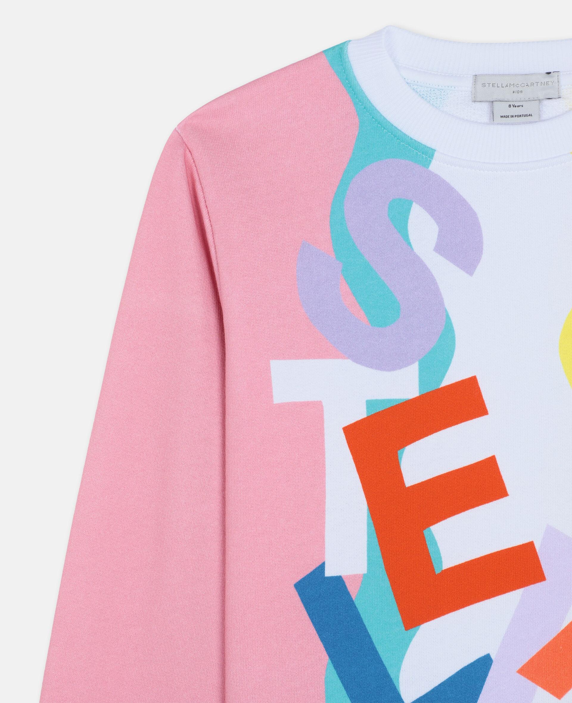 Swiggle Oversize Cotton Fleece Sweatshirt-White-large image number 1