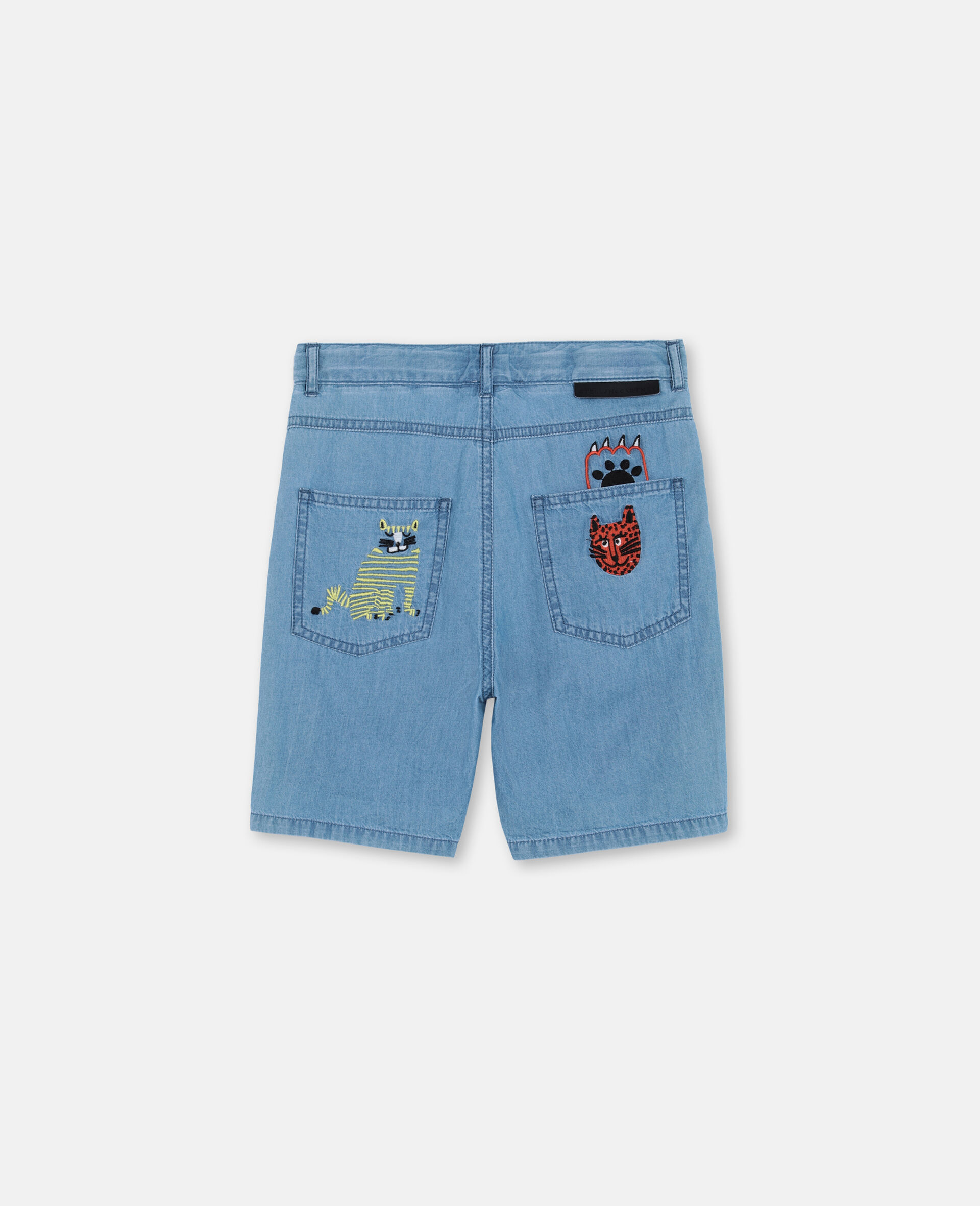 Embroidered Cats Cotton Chambray Shorts -Blue-large image number 3