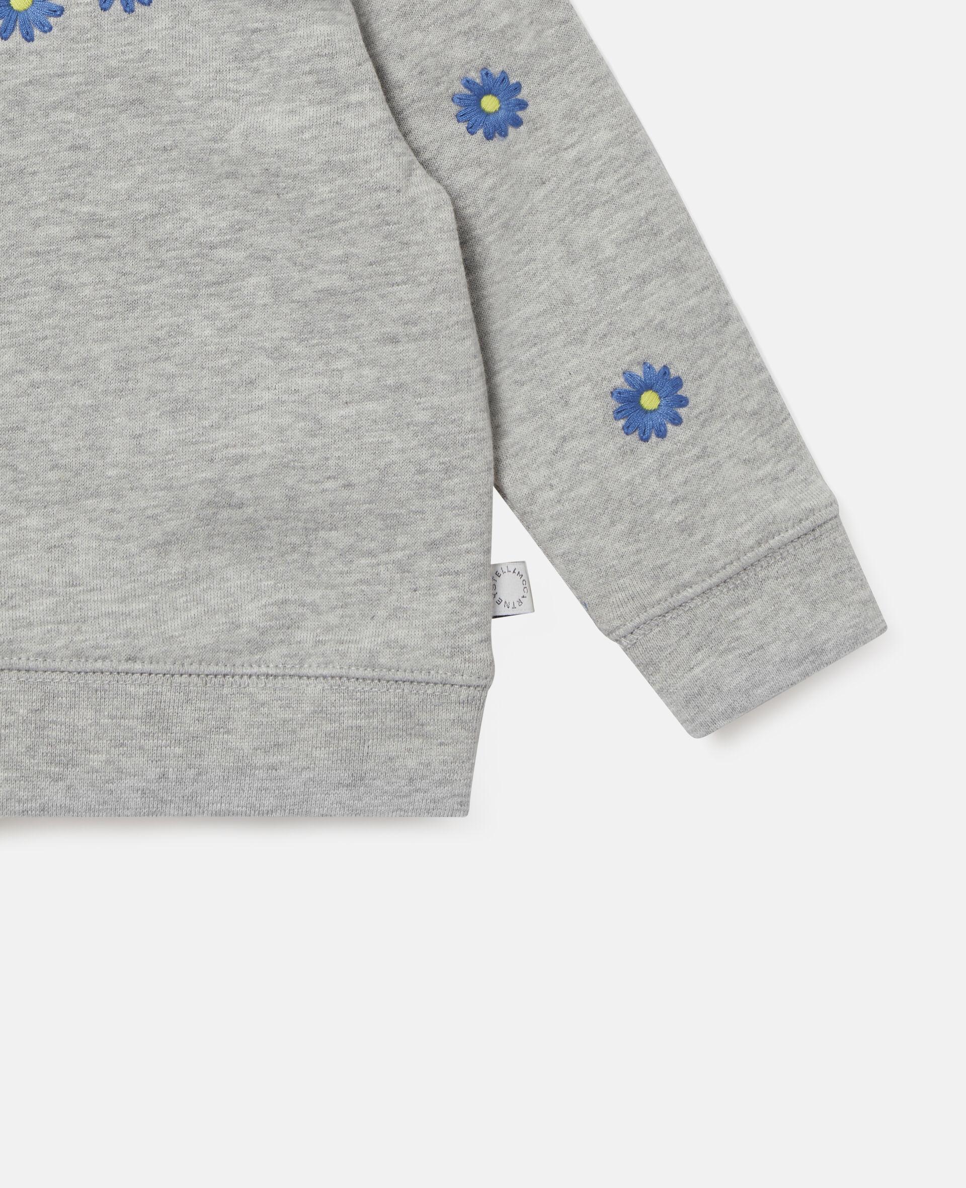 Embroidered Daisies Fleece Sweatshirt -Grey-large image number 2