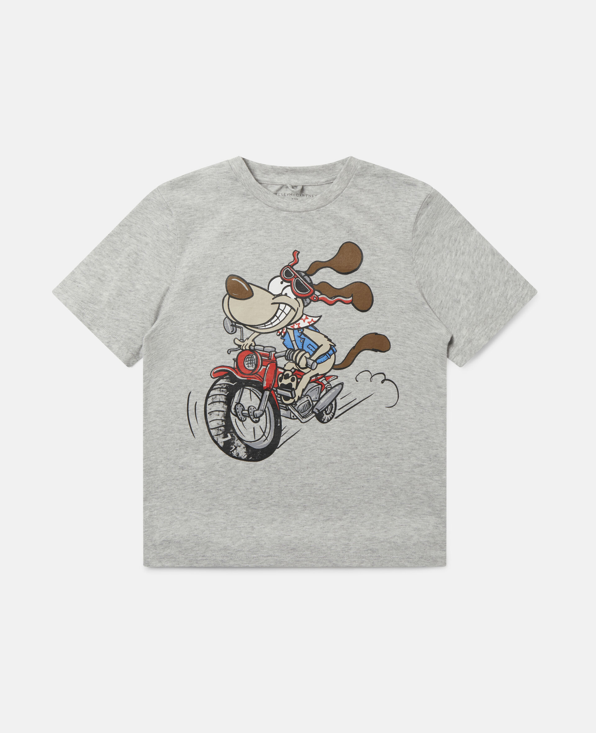 "T-Shirt aus Baumwolle mit ""Crazy Dog""-Print-Grau-large image number 0"