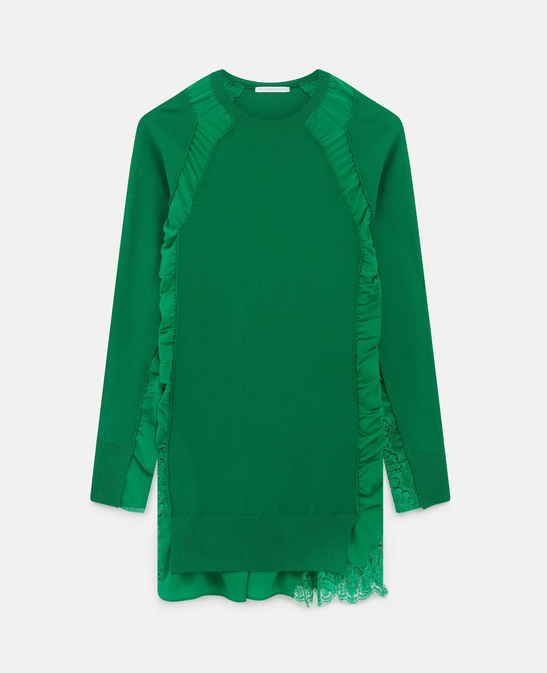 Silk Knit Mini Dress-Green-large image number 0