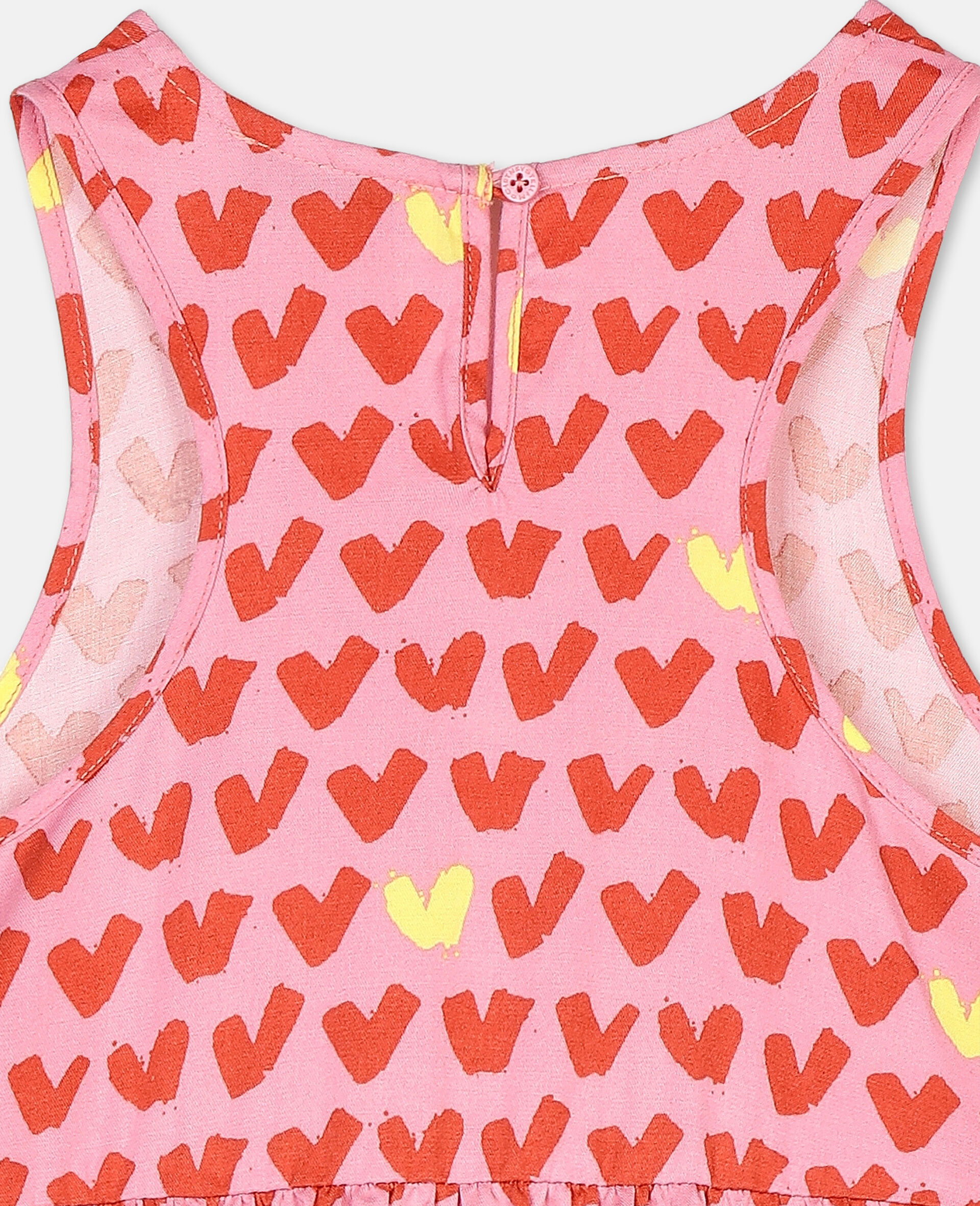 Hearts Viscose Twill Dress-Pink-large image number 2
