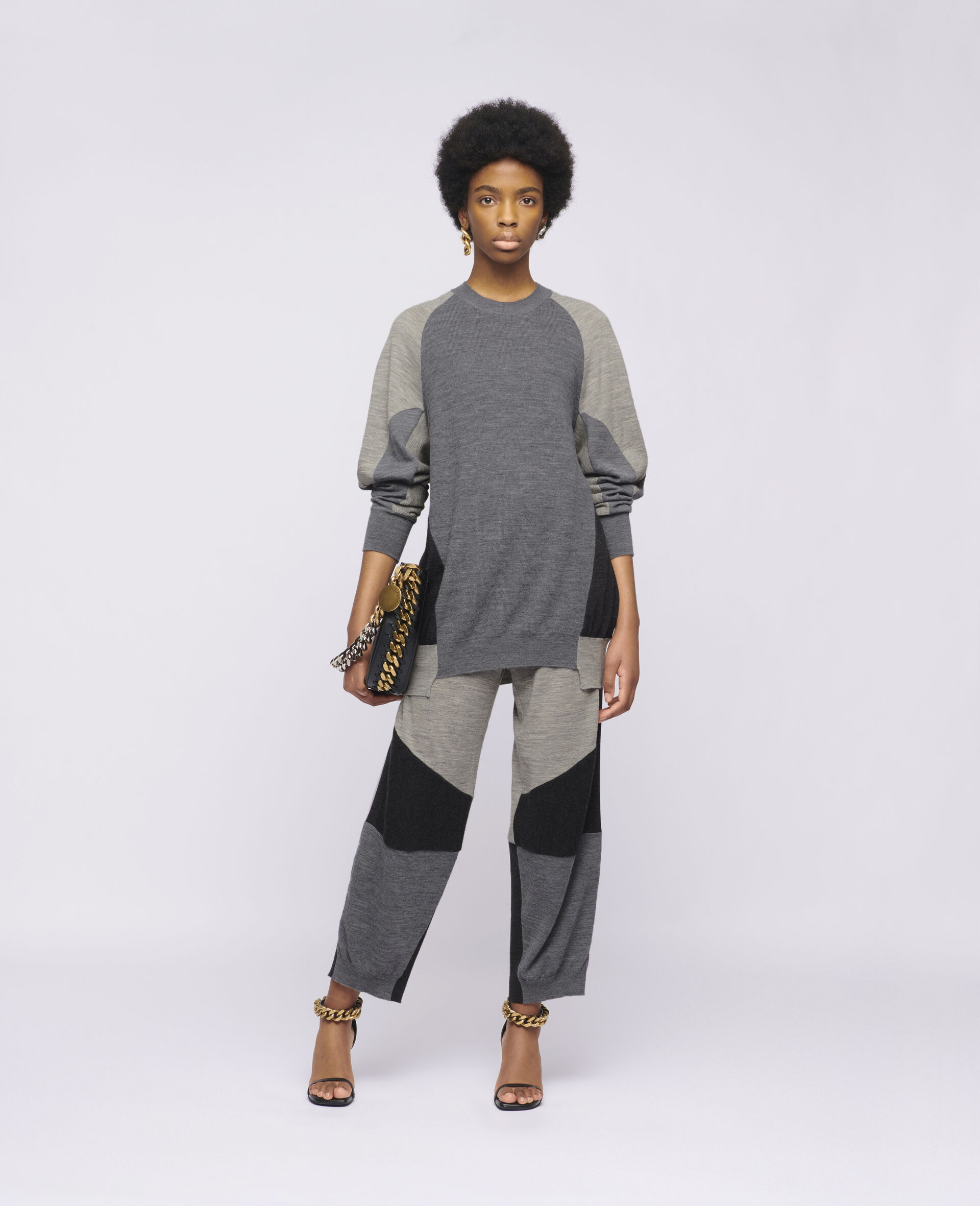 阔型针织套衫-灰色-large image number 1