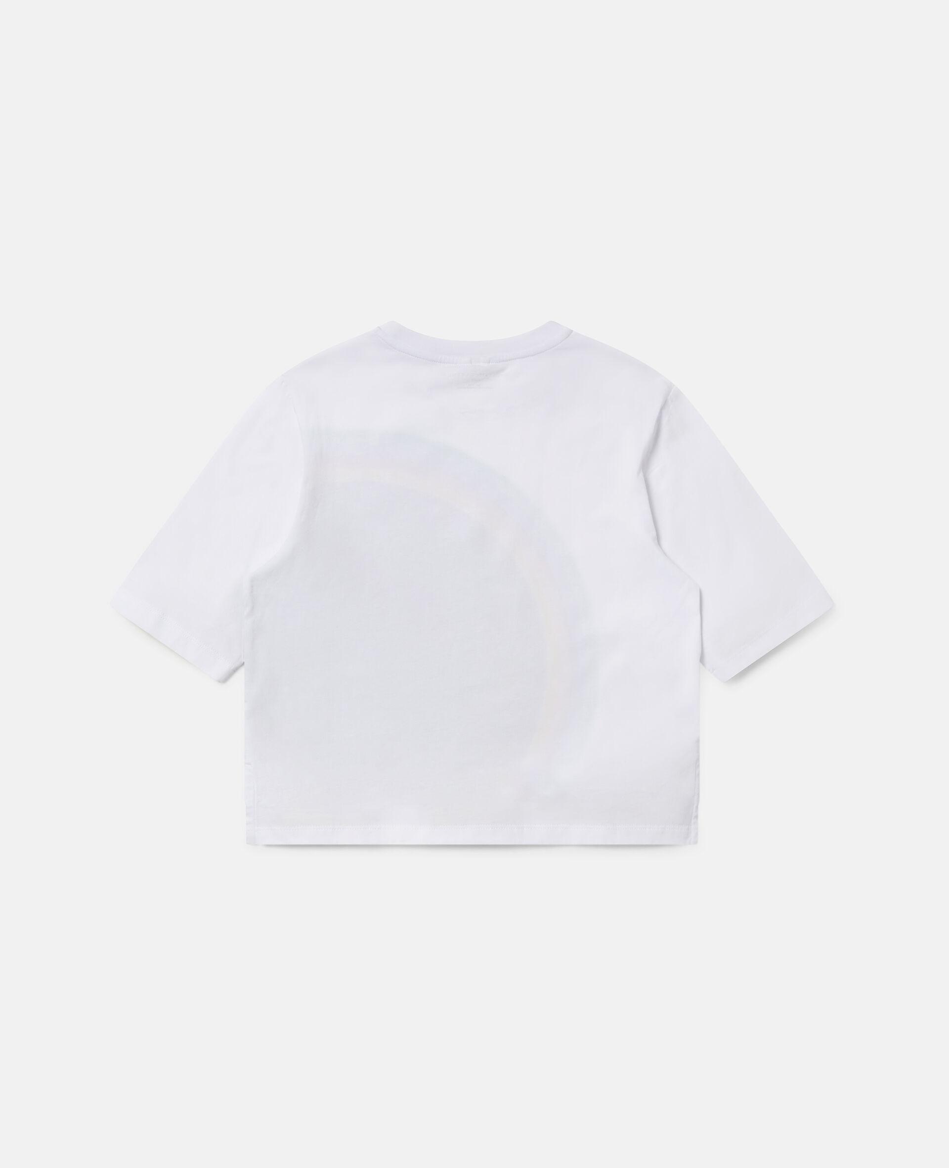 Stripy Logo Oversize Sports T-shirt -White-large image number 3