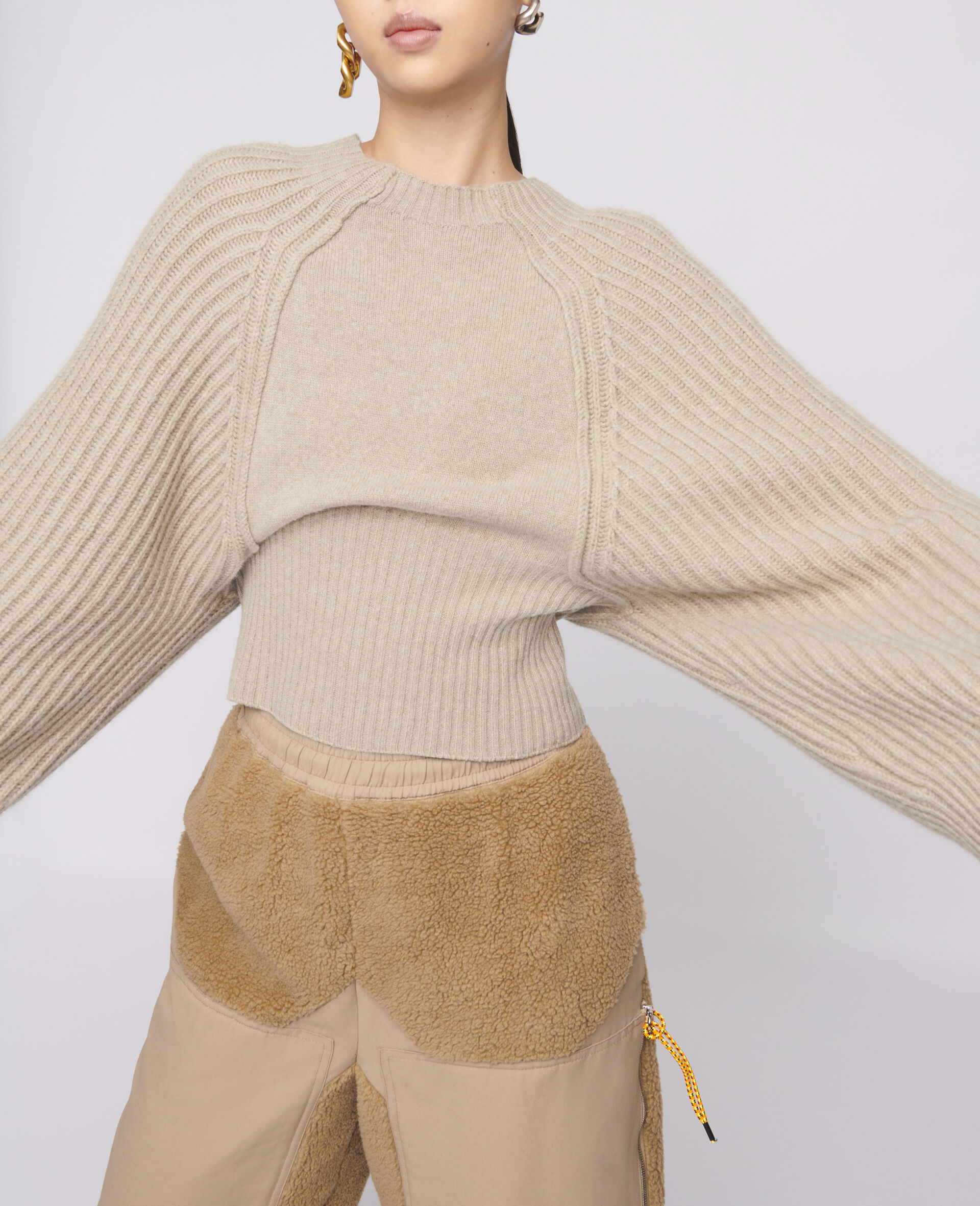 Cropped Knit Sweater -Beige-large image number 3