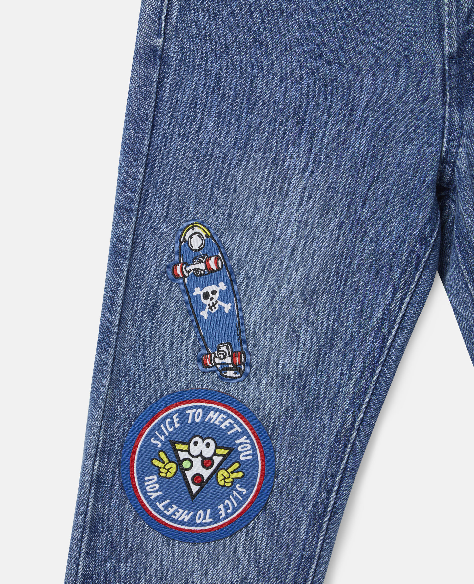 Denim-Hose mit Skater-Aufnähern-Blau-large image number 1
