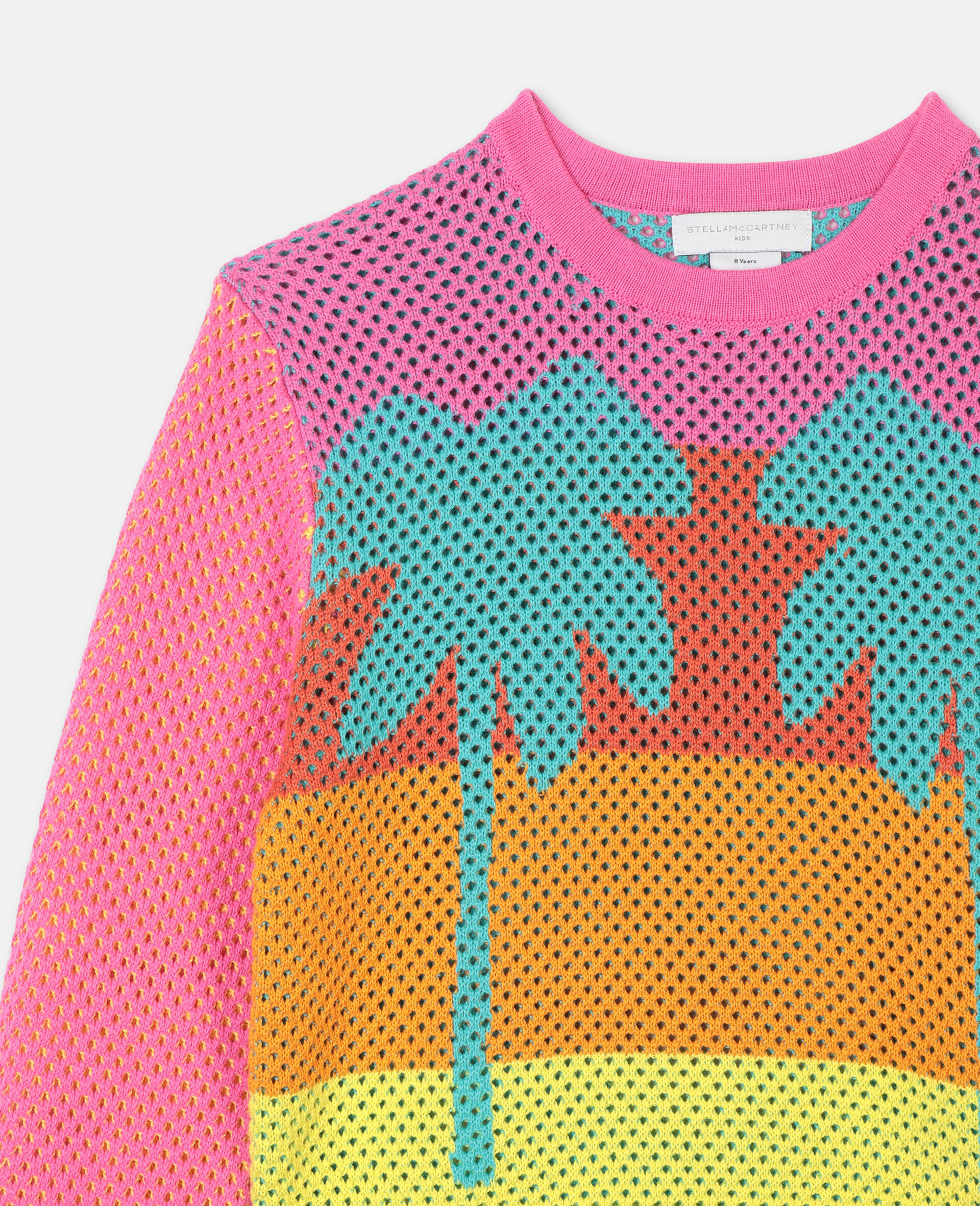 Intarsia Mesh Knit Cotton Jumper -Multicolour-large image number 1