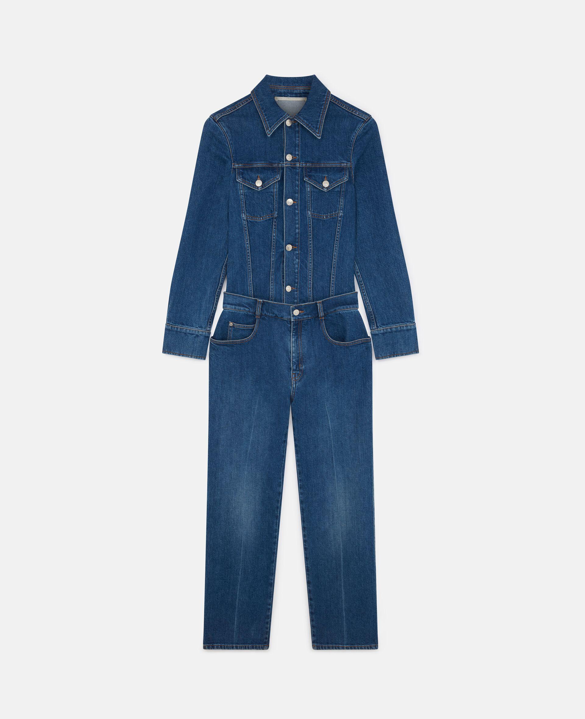 Vintage Wash Denim Jumpsuit -Blue-large image number 0