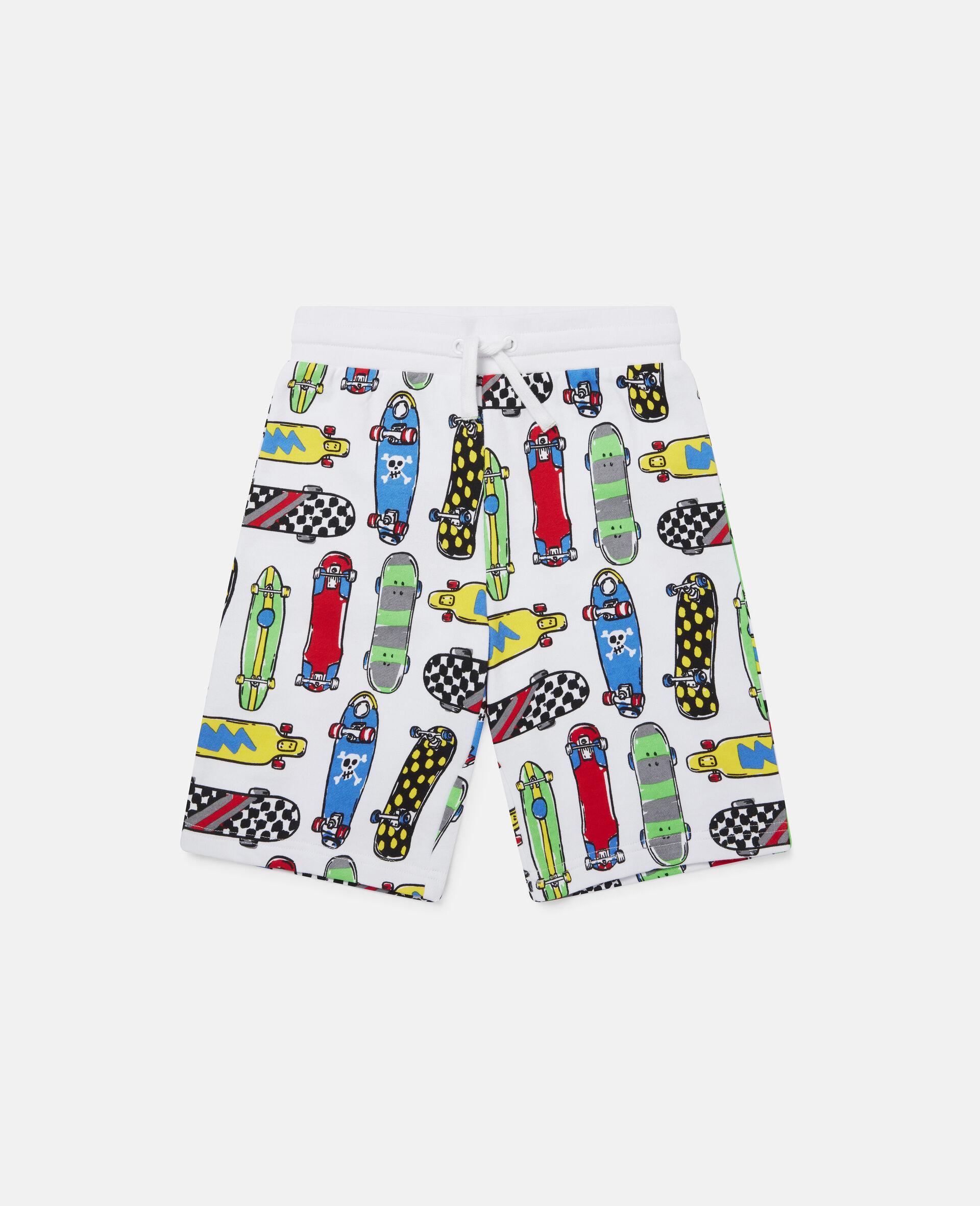Fleece-Shorts mit Skateboardmotiv-Weiß-large image number 0