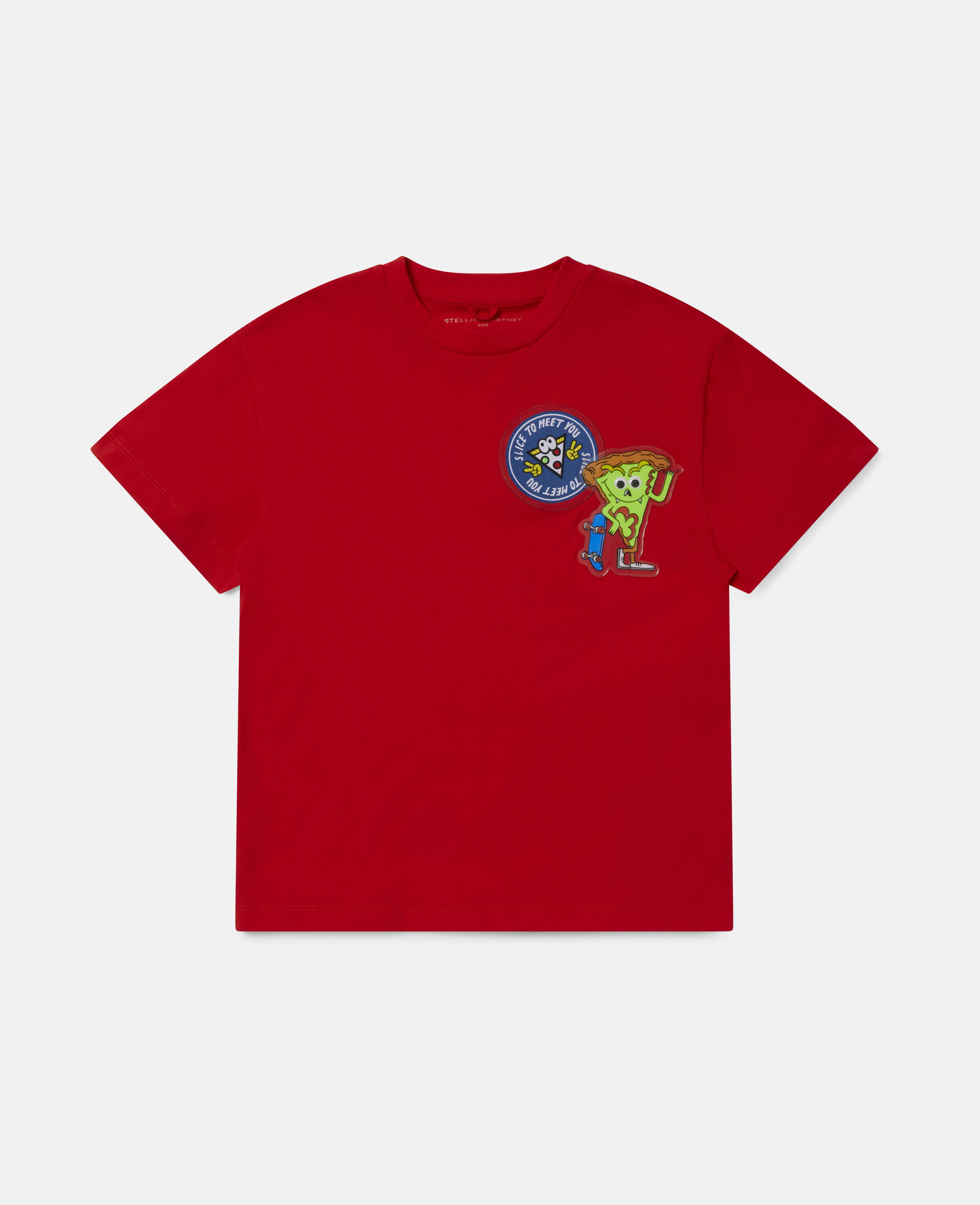 Übergroßes Baumwoll-T-Shirt mit Pizza-Aufnäher -Rot-large image number 0