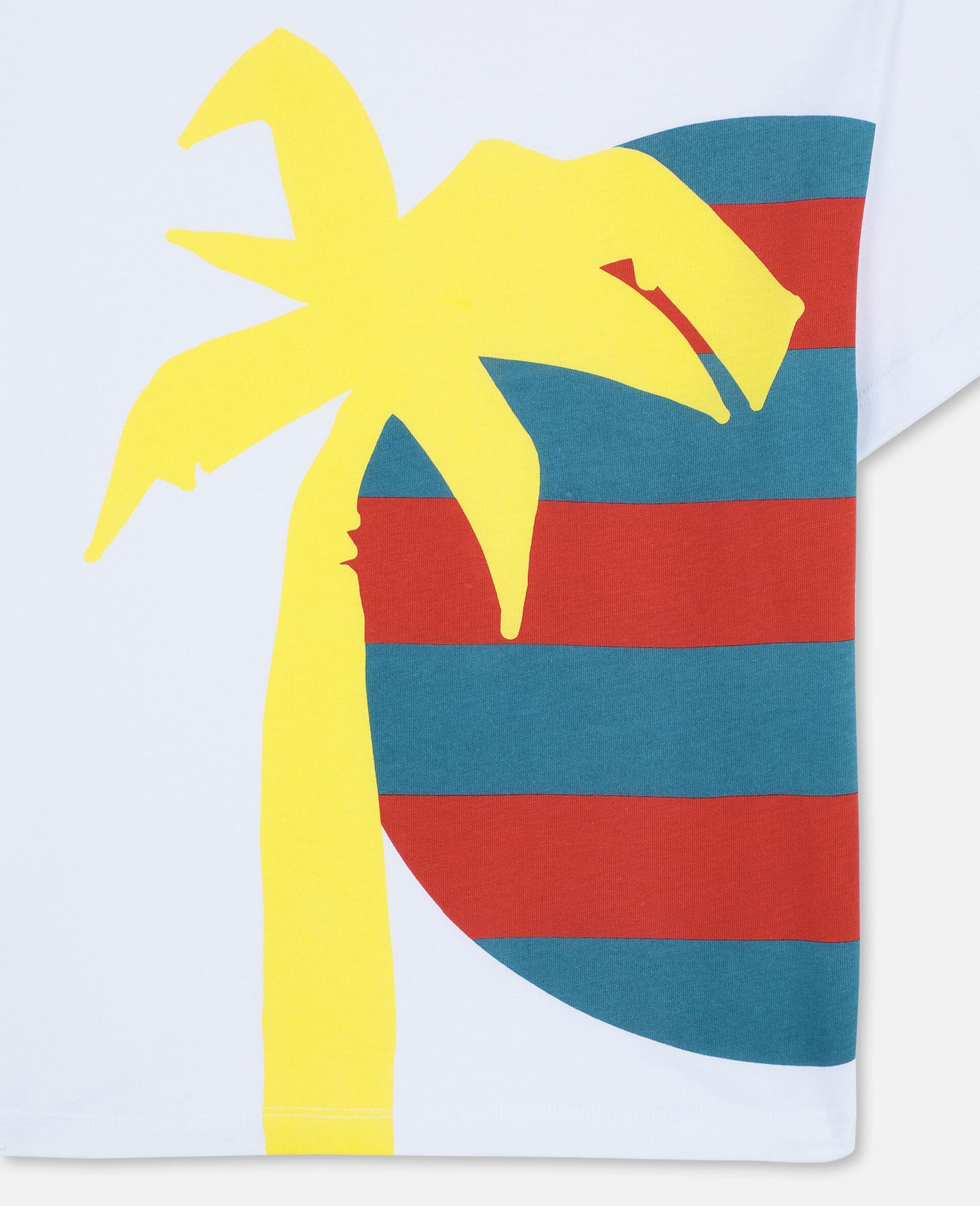 T-shirt oversize en coton à motif soleil et palmier -Blanc-large image number 2