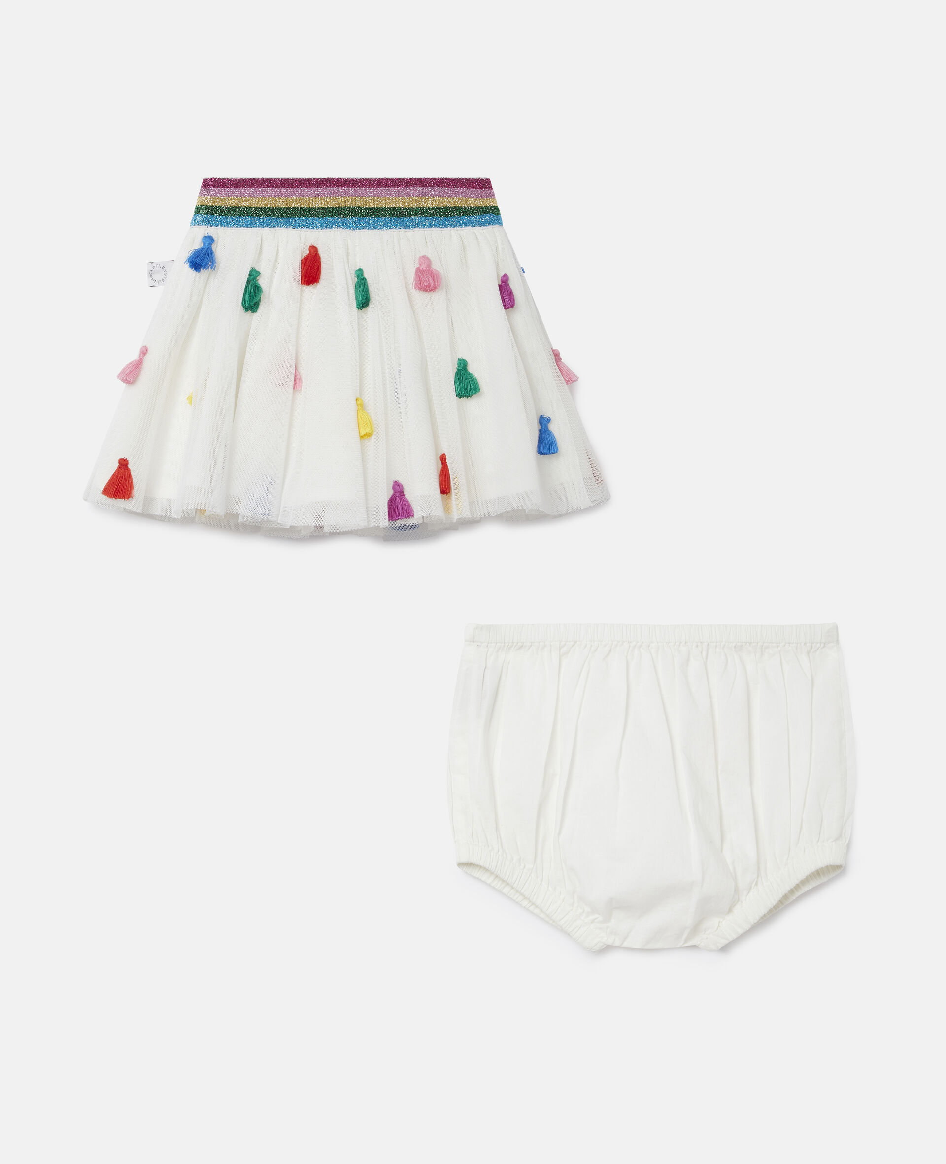Tassels Tulle Skirt-White-large image number 0