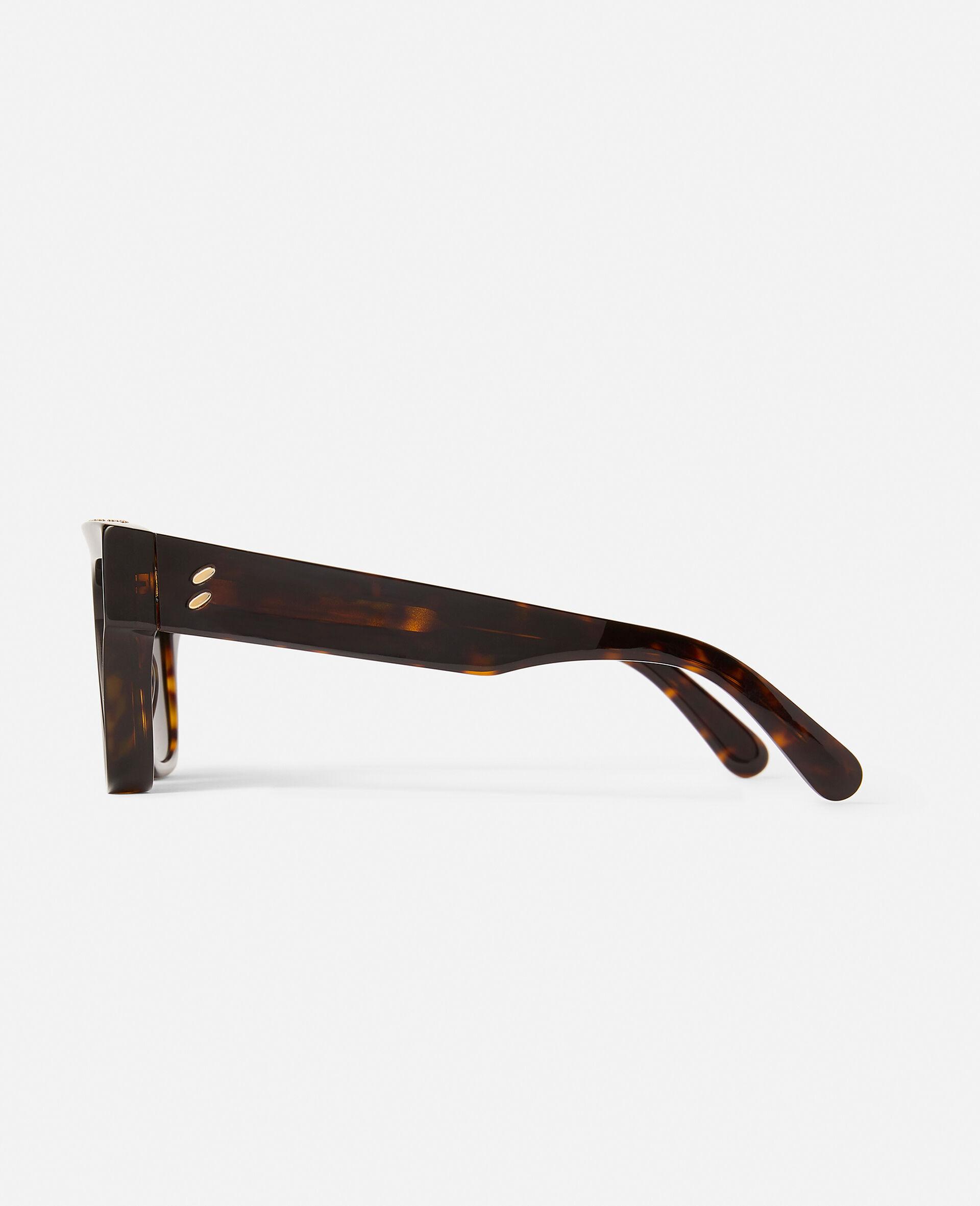 Glänzend schwarze Sonnenbrille mit eckiger Fassung-Schwarz-large image number 1