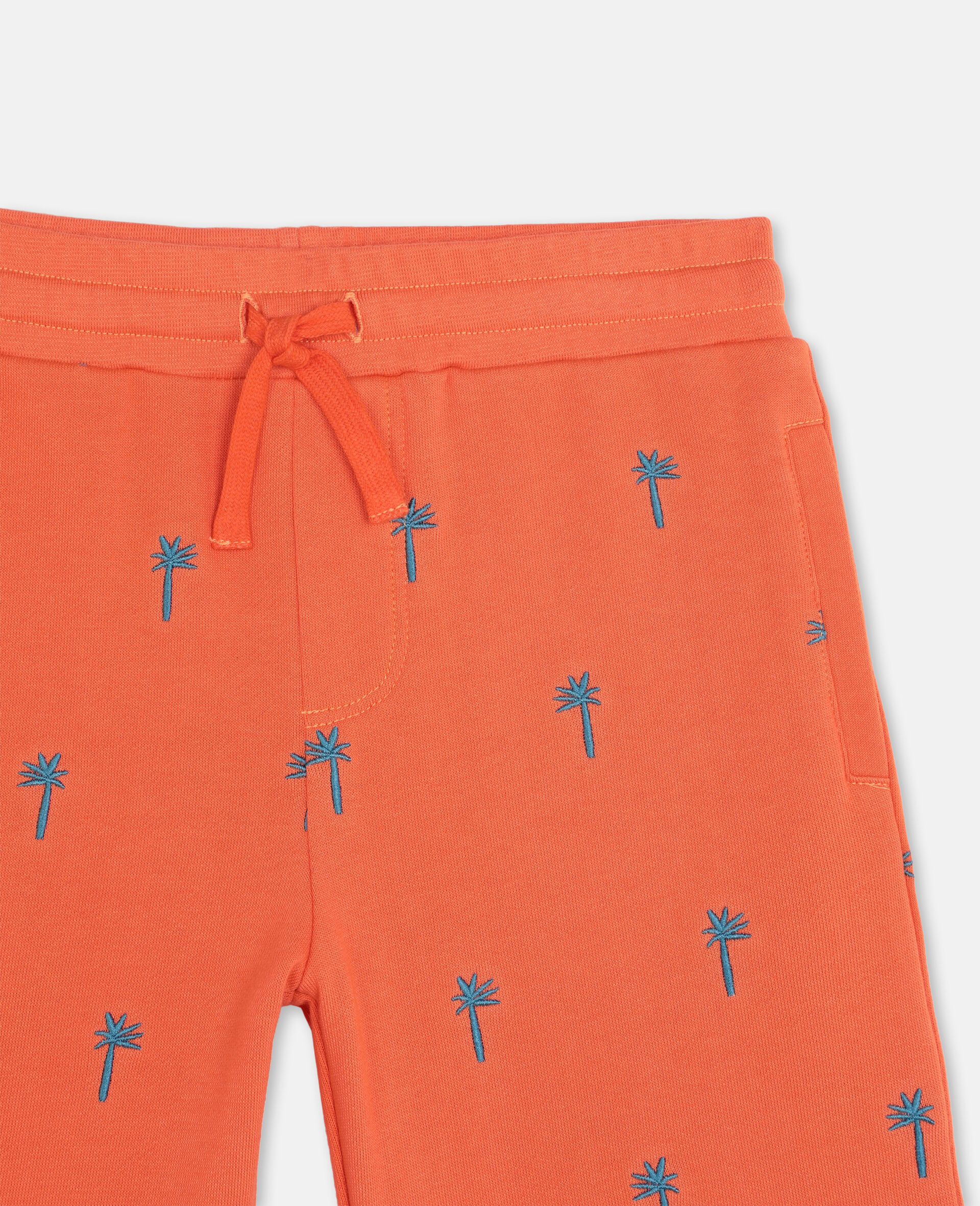 Embroidered Palm Cotton Shorts-Red-large image number 1