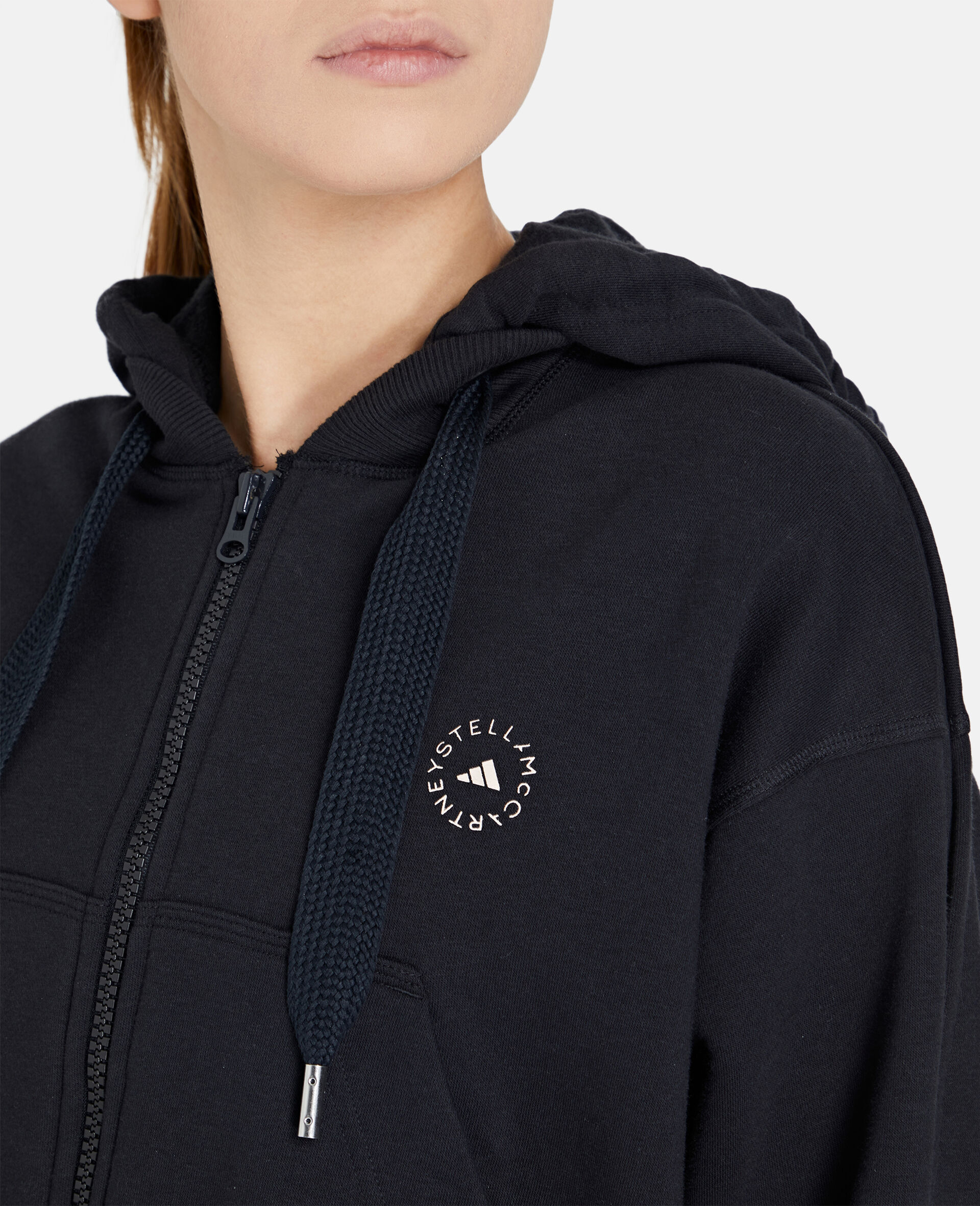 Black Full-zipper Cropped Hoodie-Black-large image number 3