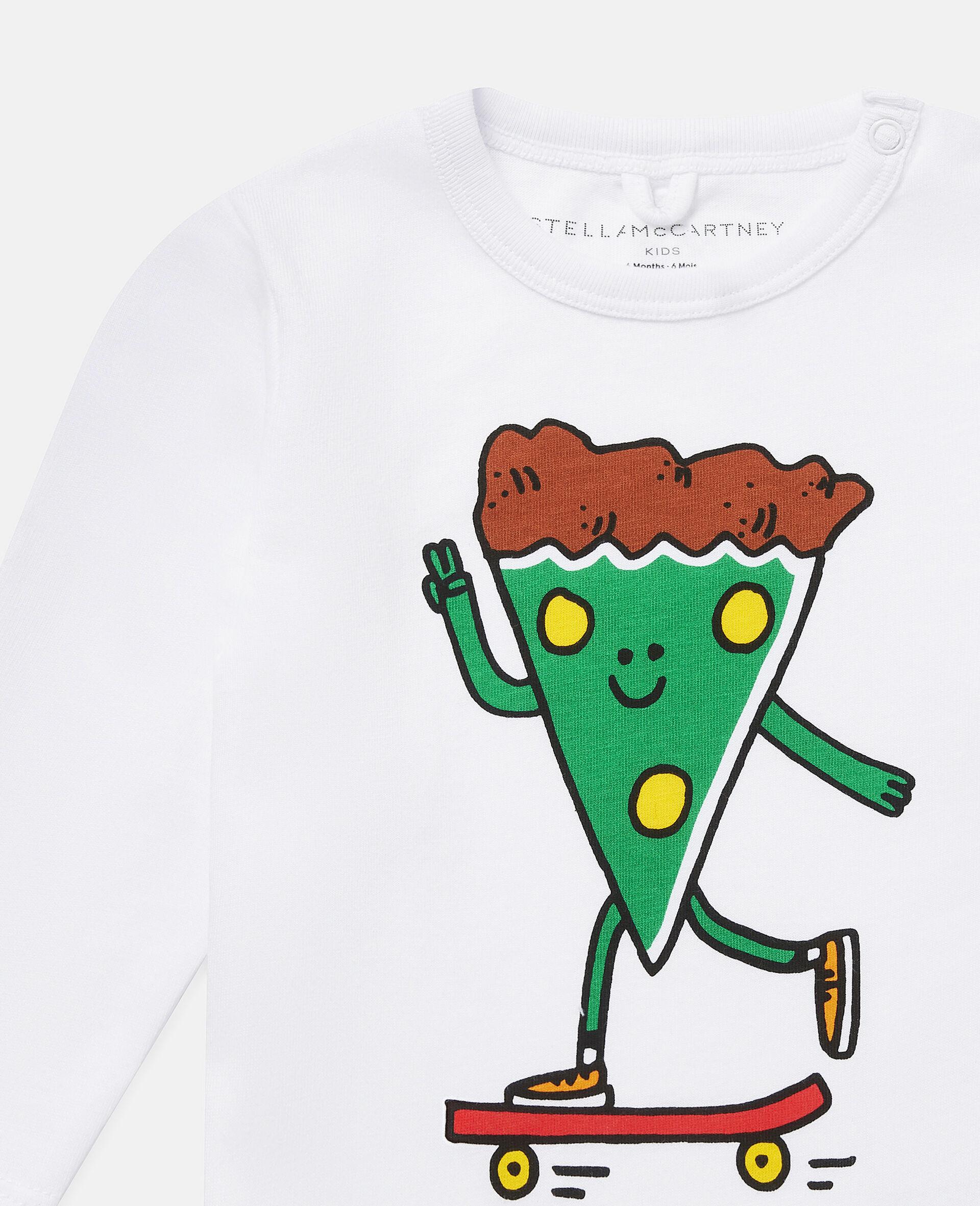披萨滑板运动员印花平纹针织T恤-白色-large image number 1