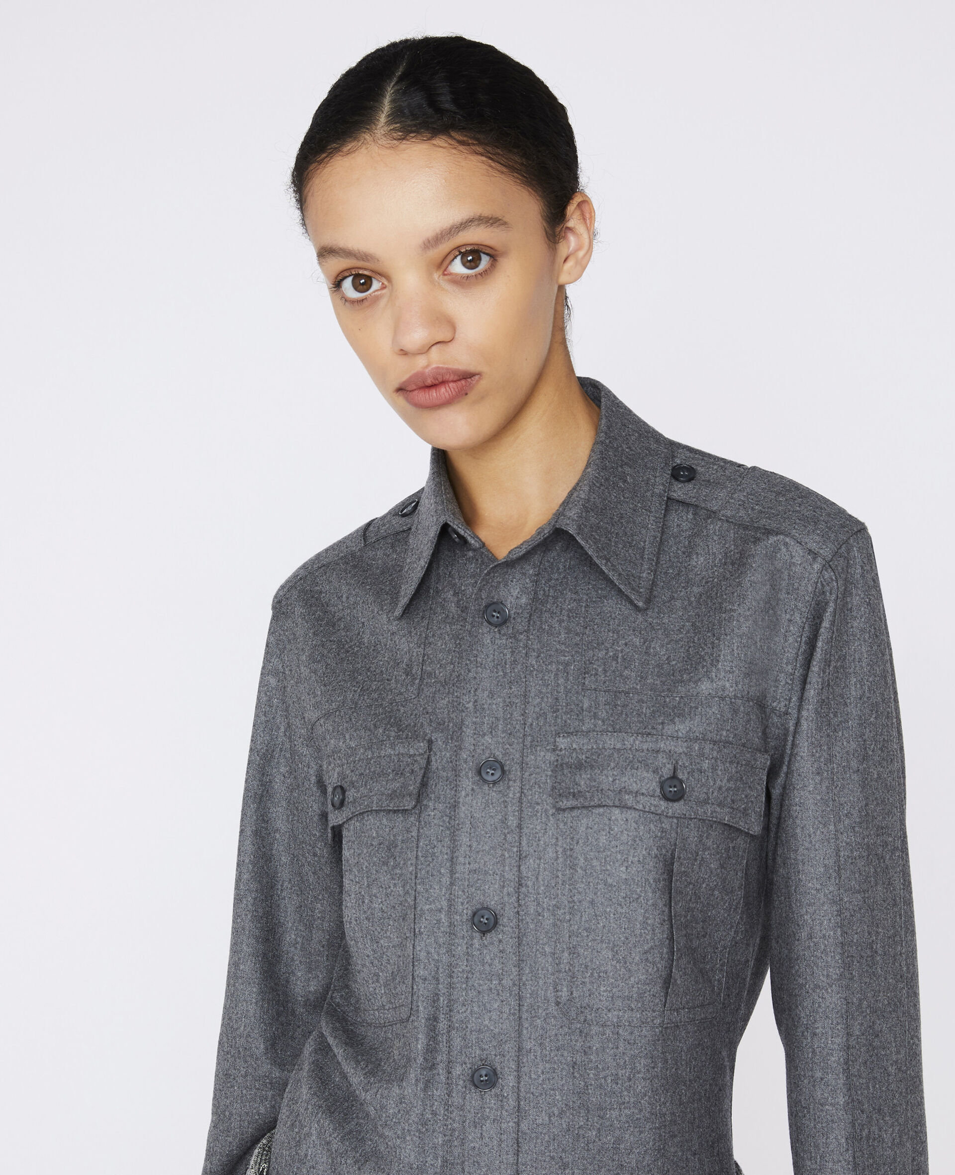 Wool Flannel Shirt-Grey-large image number 3