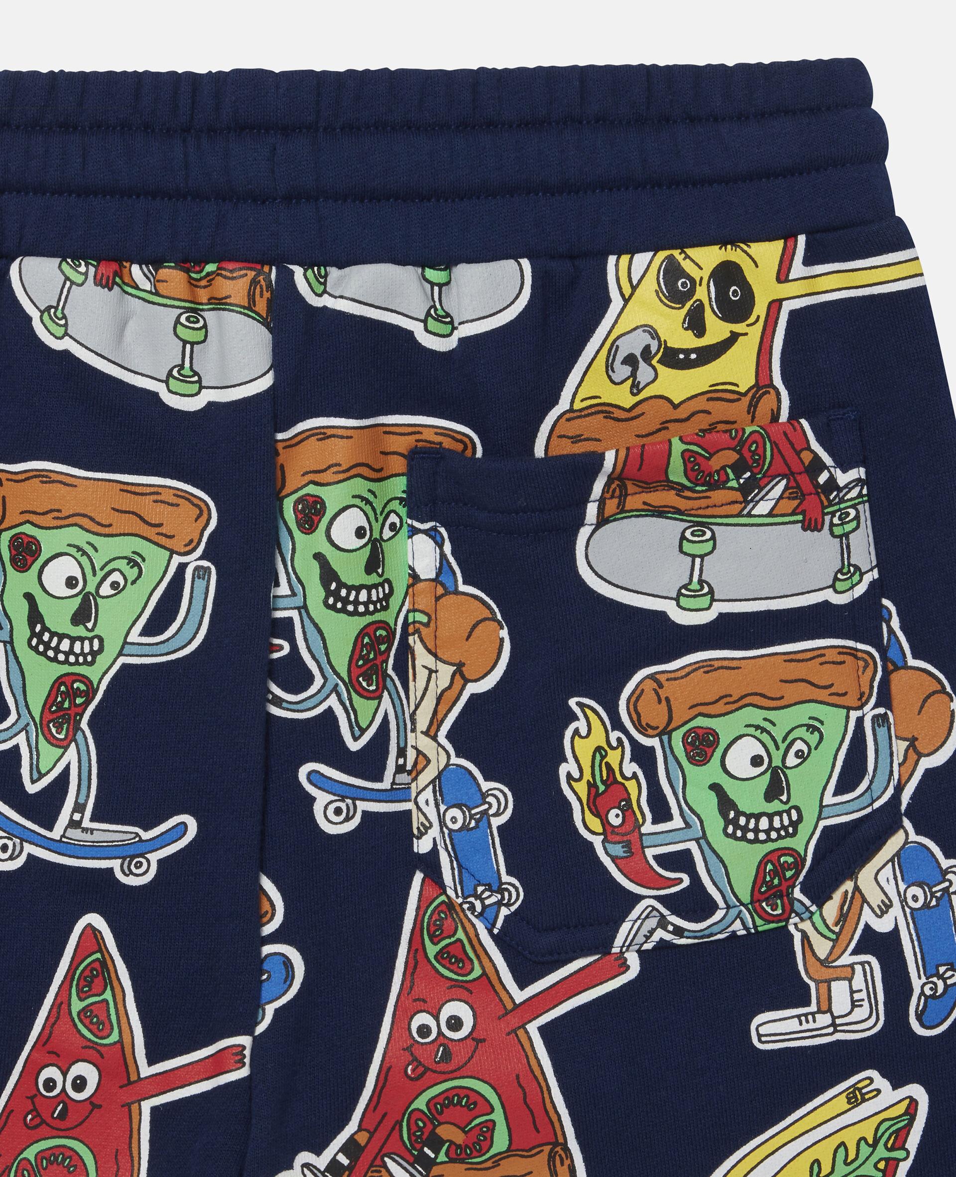 Fleece-Shorts mit Pizza-Skater-Motiv-Blau-large image number 2
