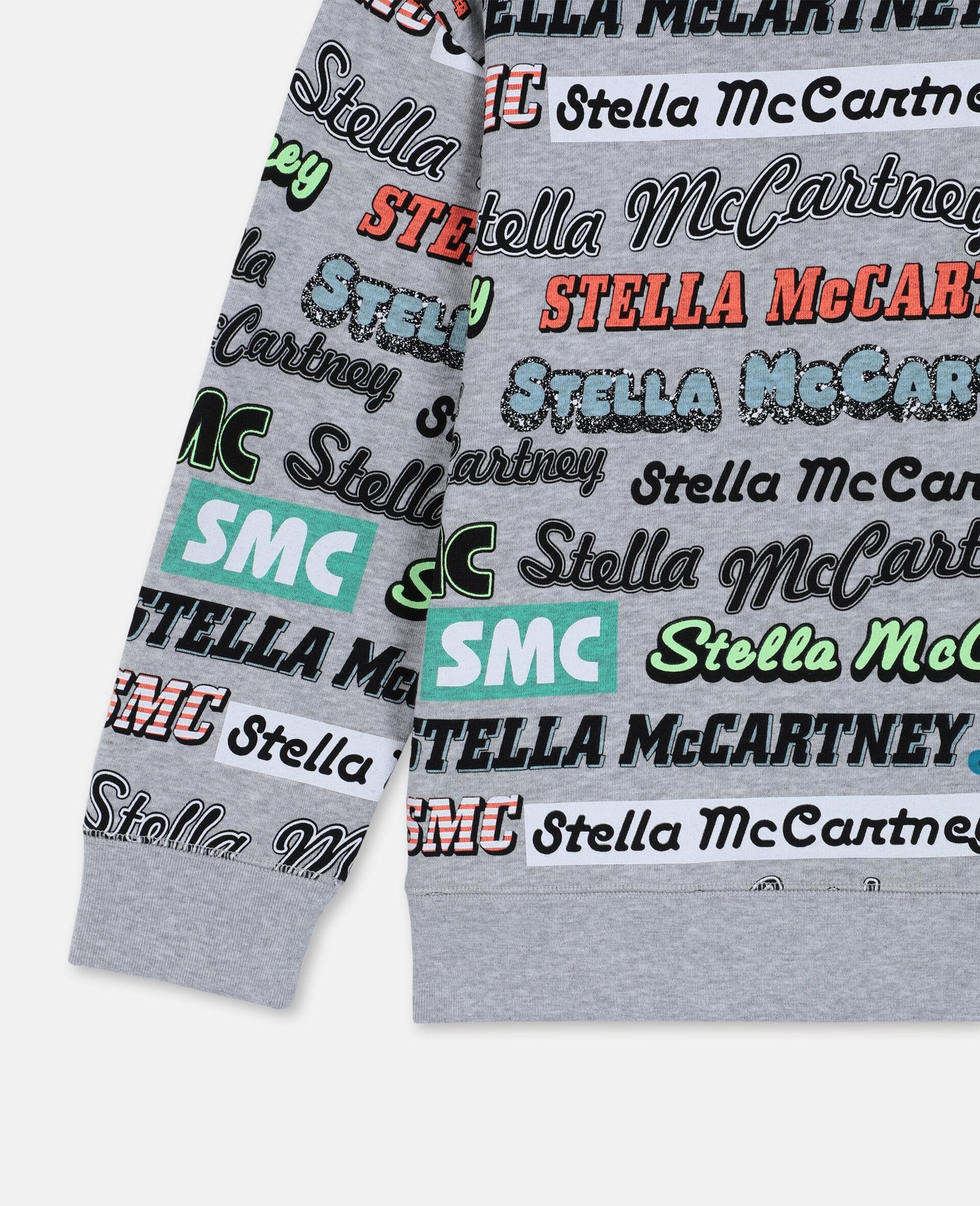 Sweat-shirt de sport oversize en coton avec logo -Gris-large image number 2