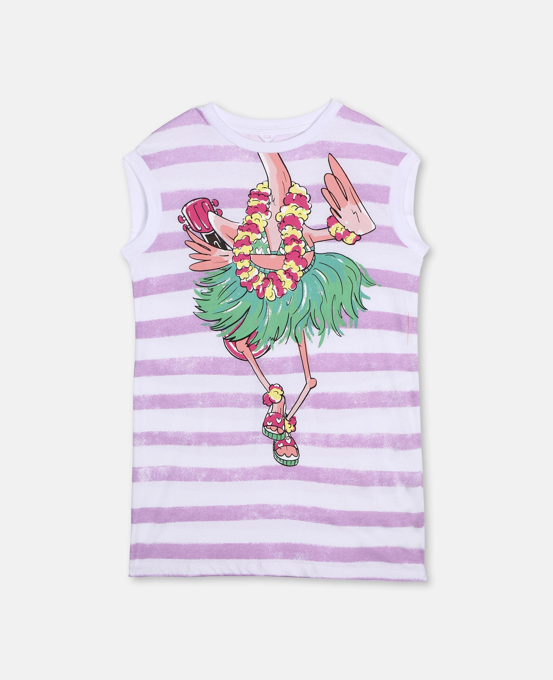 Trompe-L'Oeil Flamingo Cotton Dress-White-large image number 0