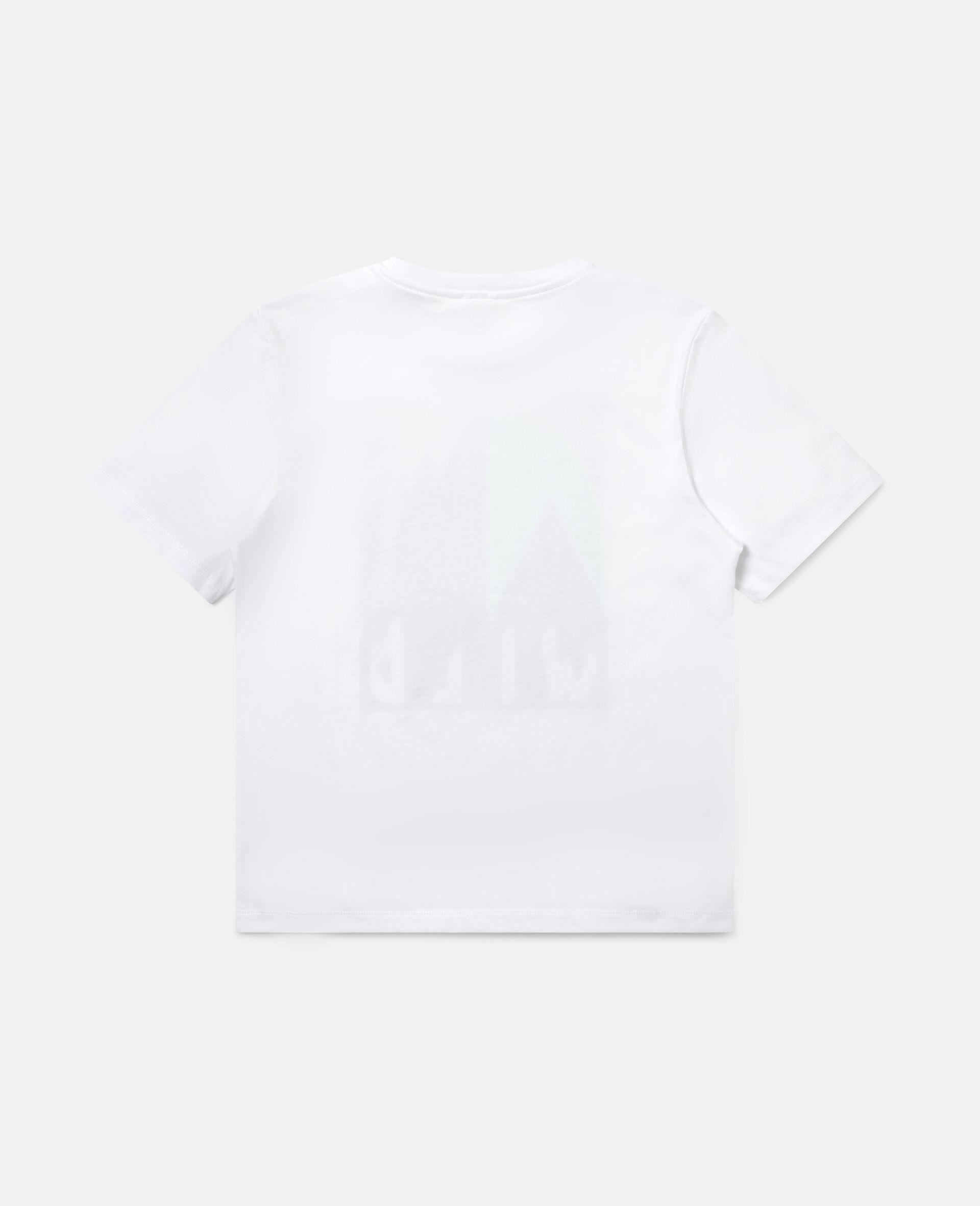 Übergroßes T-Shirt mit grafischem Bergmotiv-Weiß-large image number 3