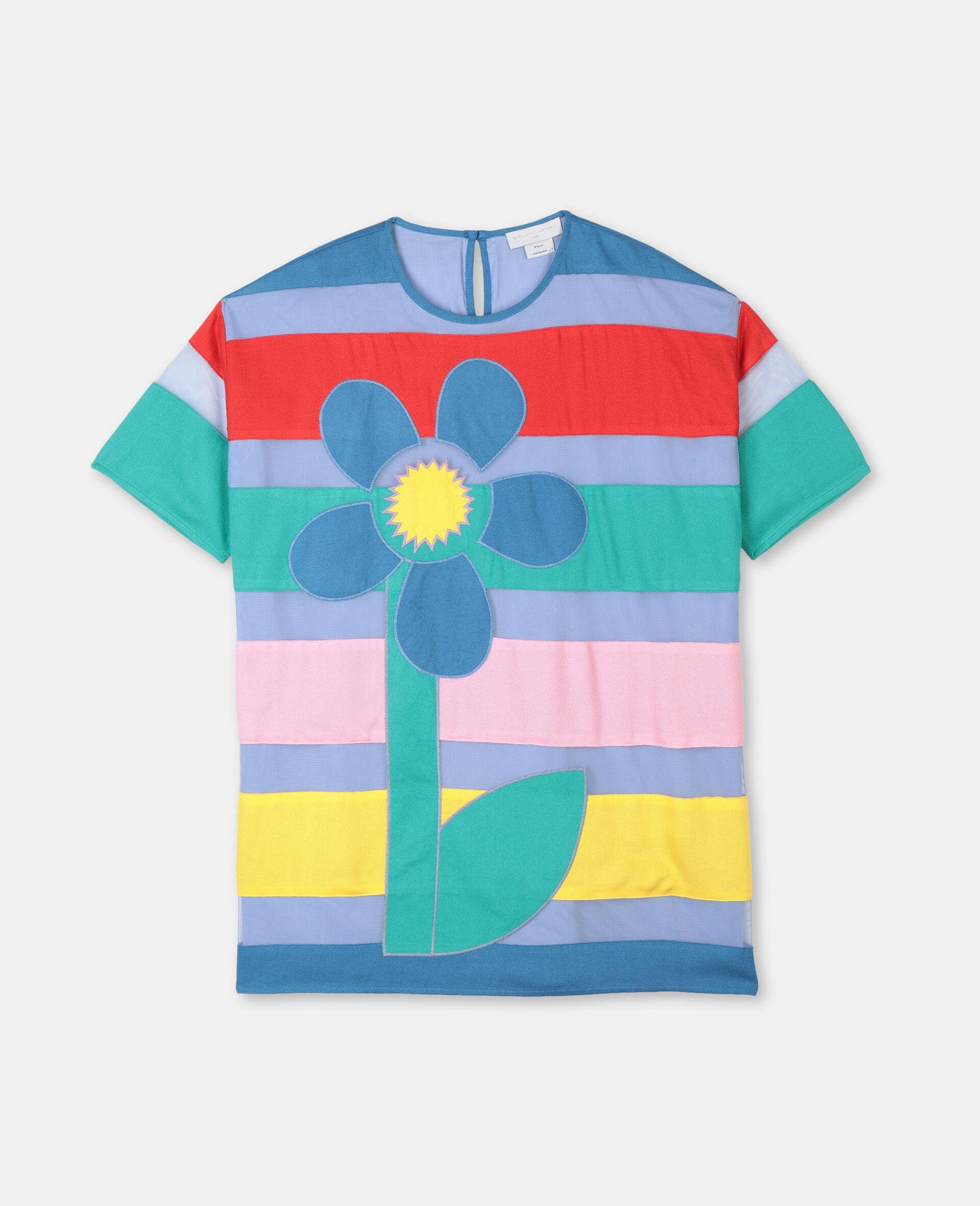 Flower贴饰绢网连衣裙-Multicolored-large image number 0