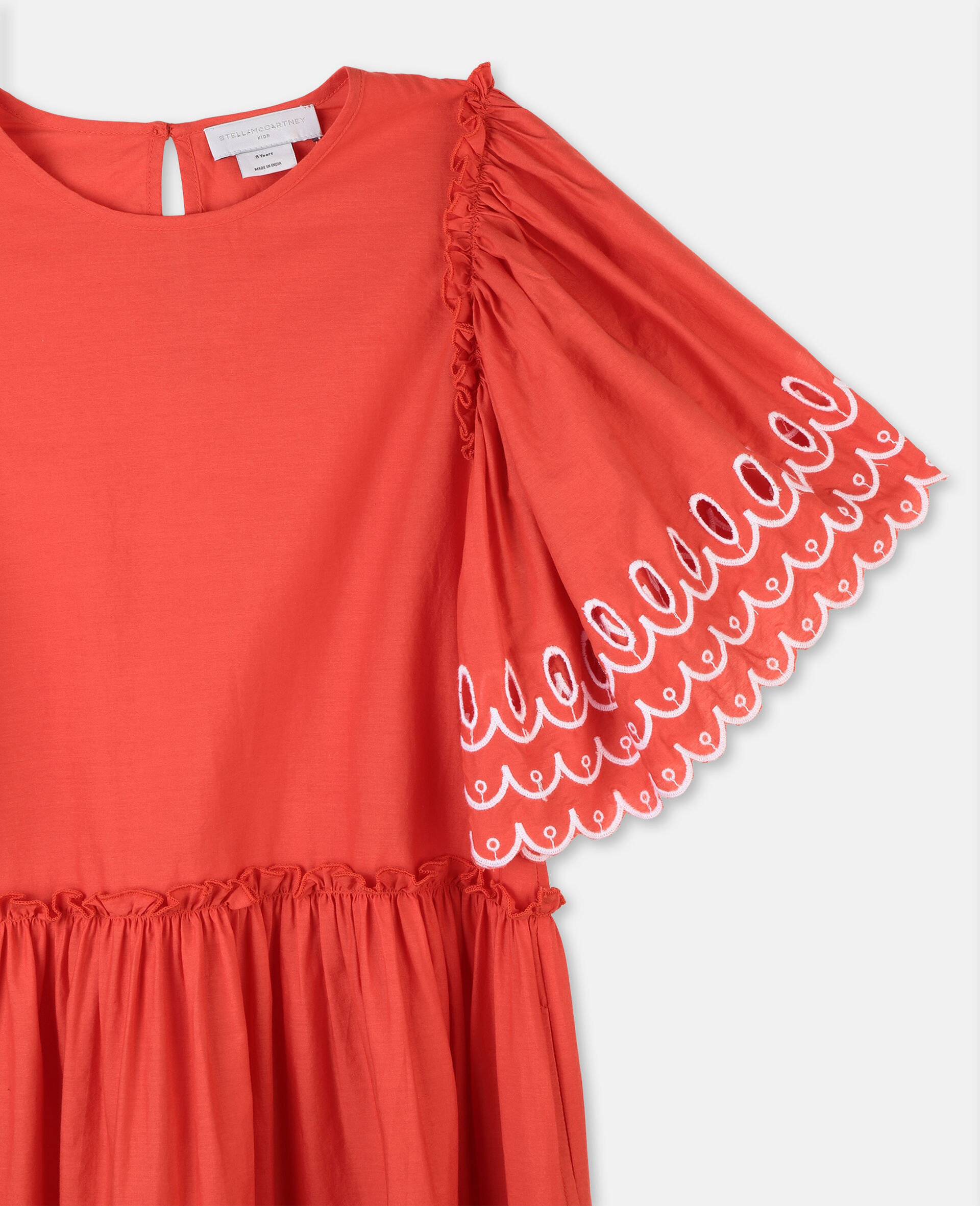 Scalloped Cotton Dress-Red-large image number 1