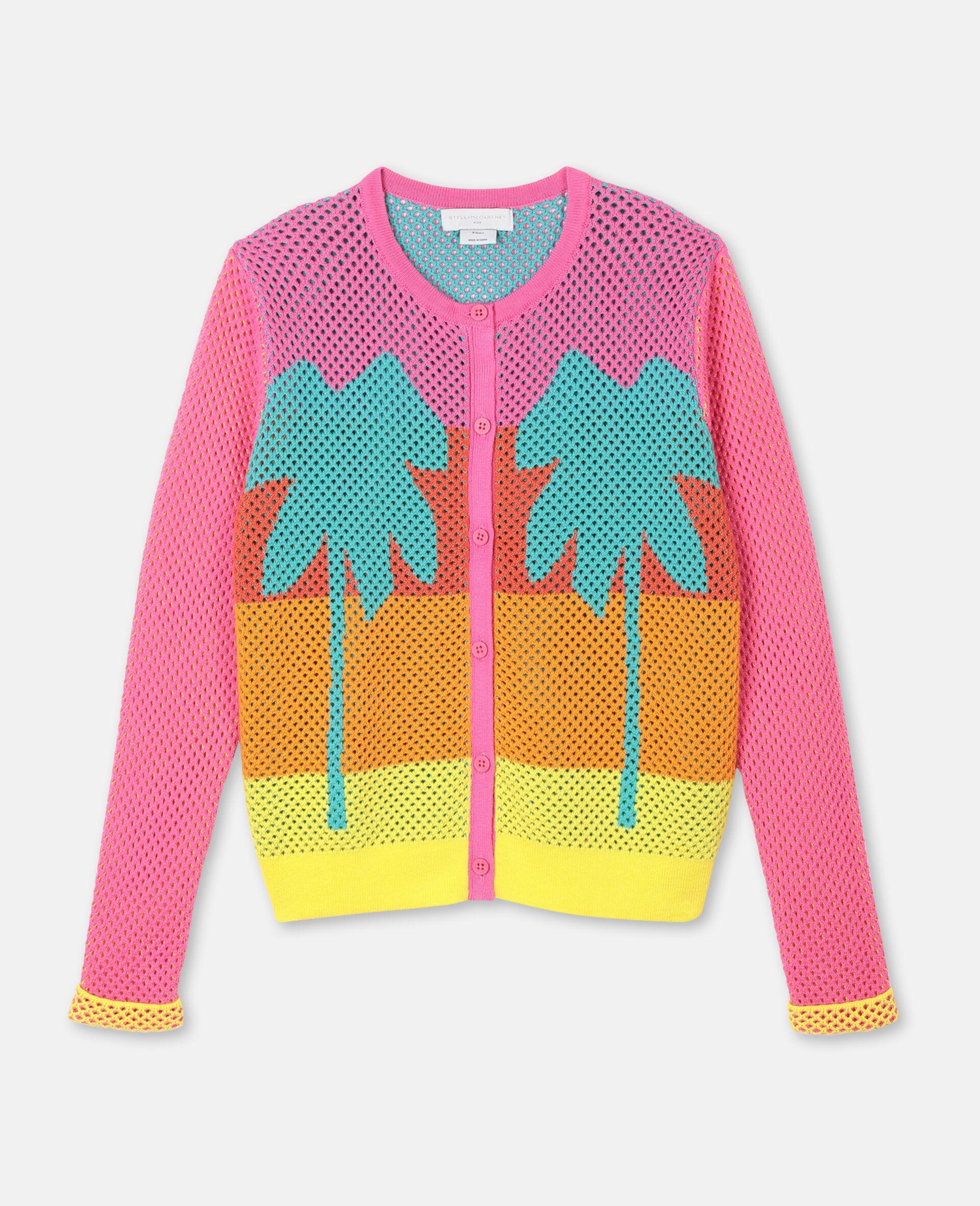 Intarsia Mesh Knit Cotton Cardigan-Multicoloured-large image number 0