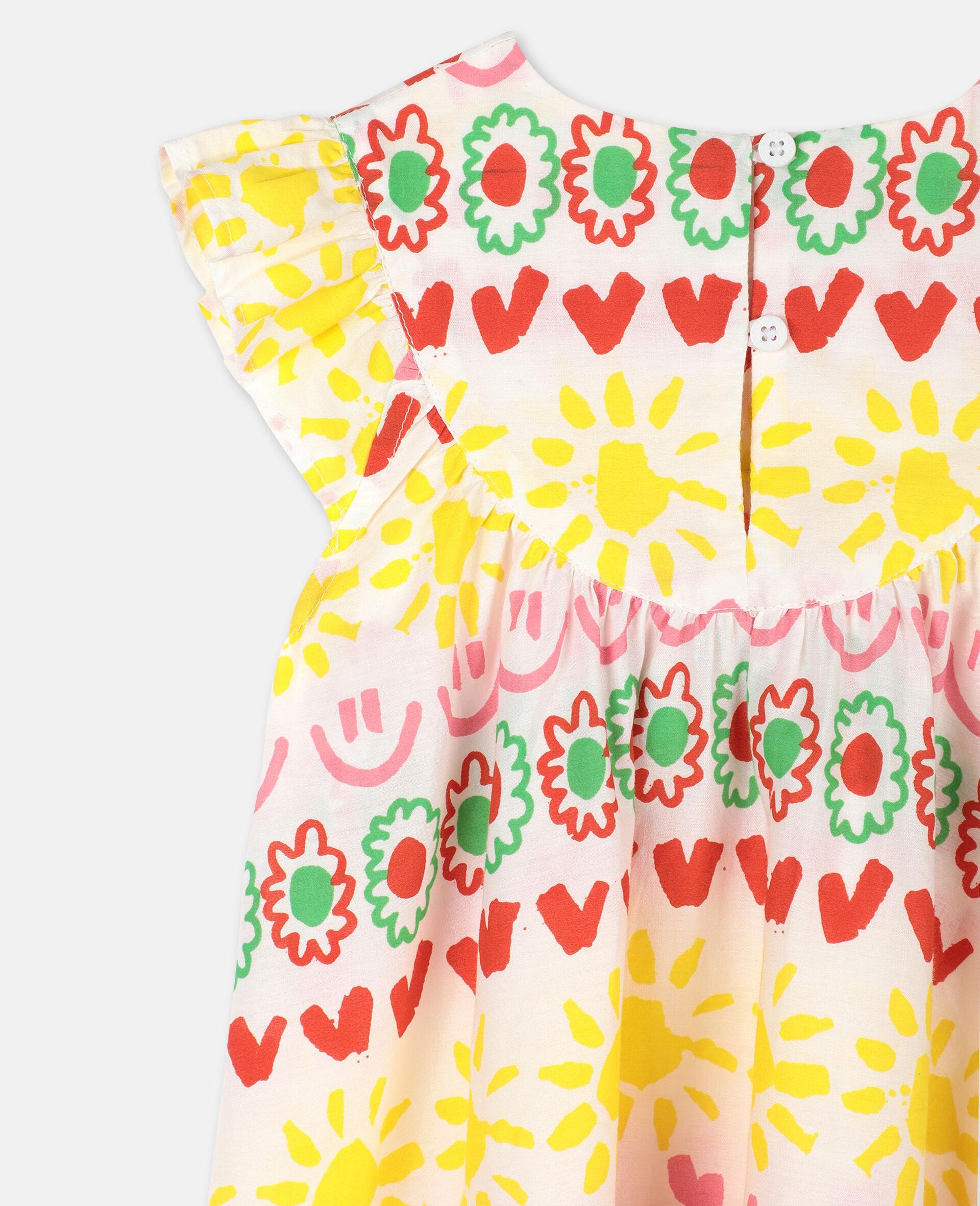 """Kleid aus Baumwolle mit """"Happy Stripes""""-Print-Gelb-large image number 2"""