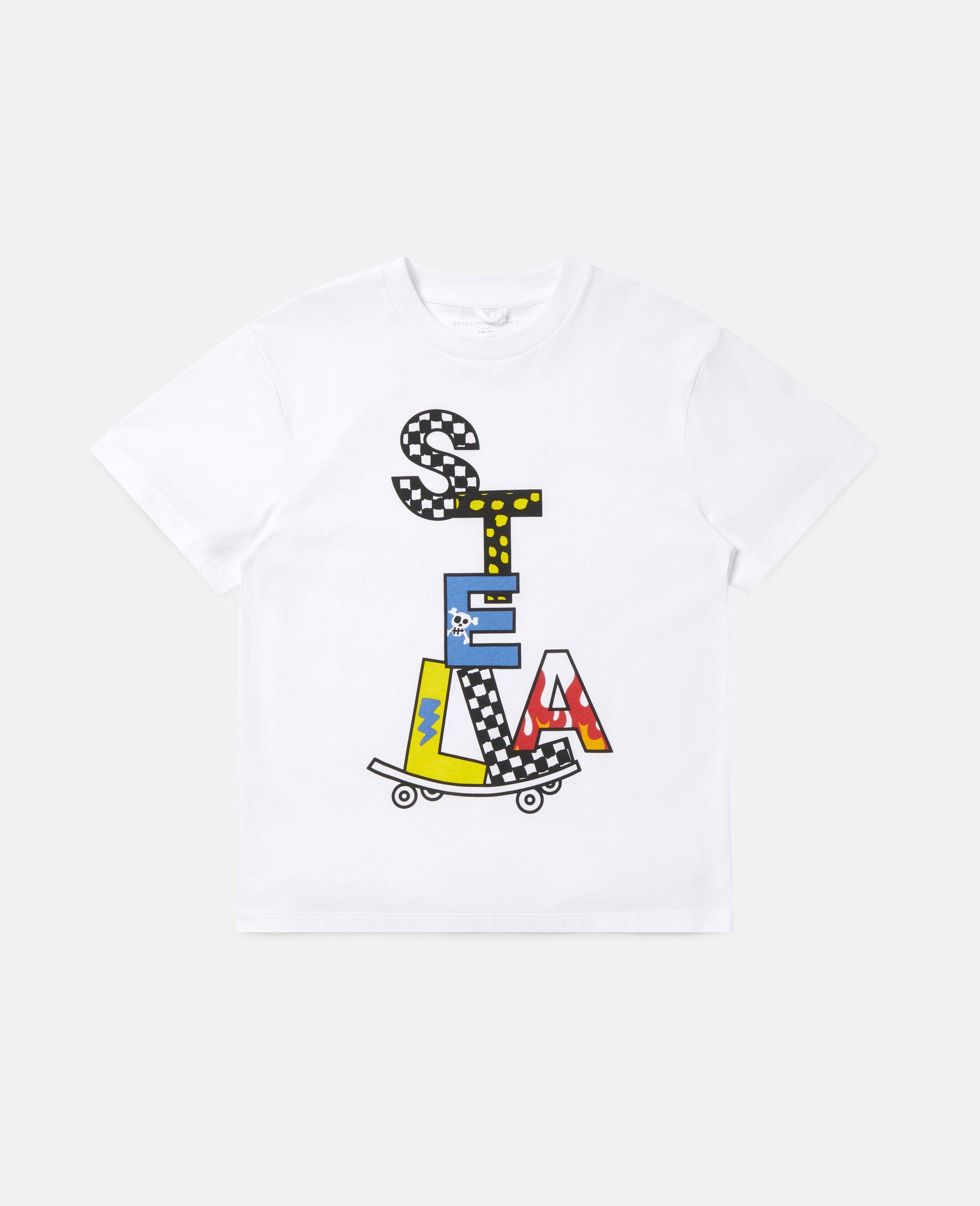 Stella滑板印花超大号棉质T恤 -白色-large image number 0