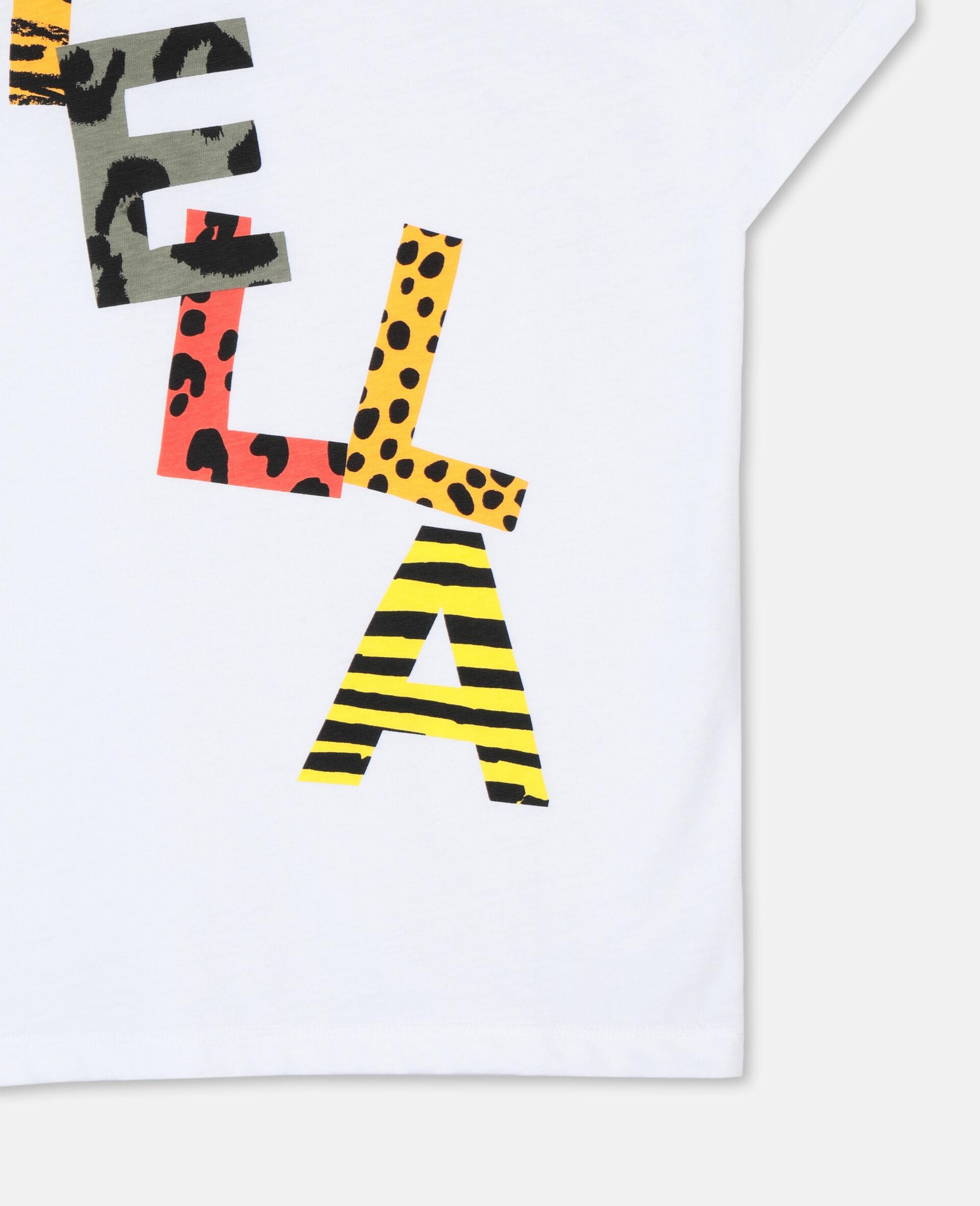 Cheetah Cotton Logo T-shirt -White-large image number 3