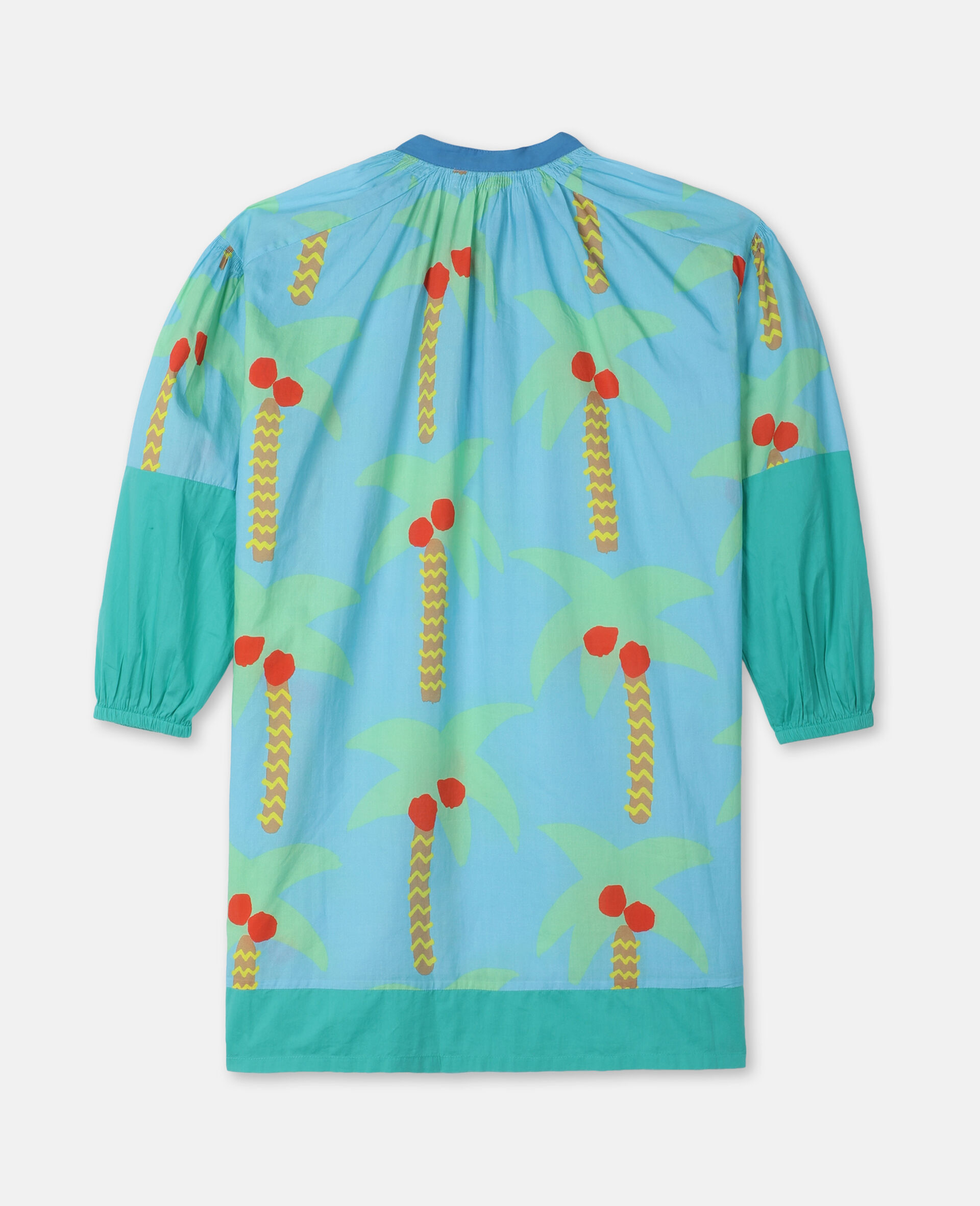 Palm Trees Oversize Cotton Dress-Green-large image number 3
