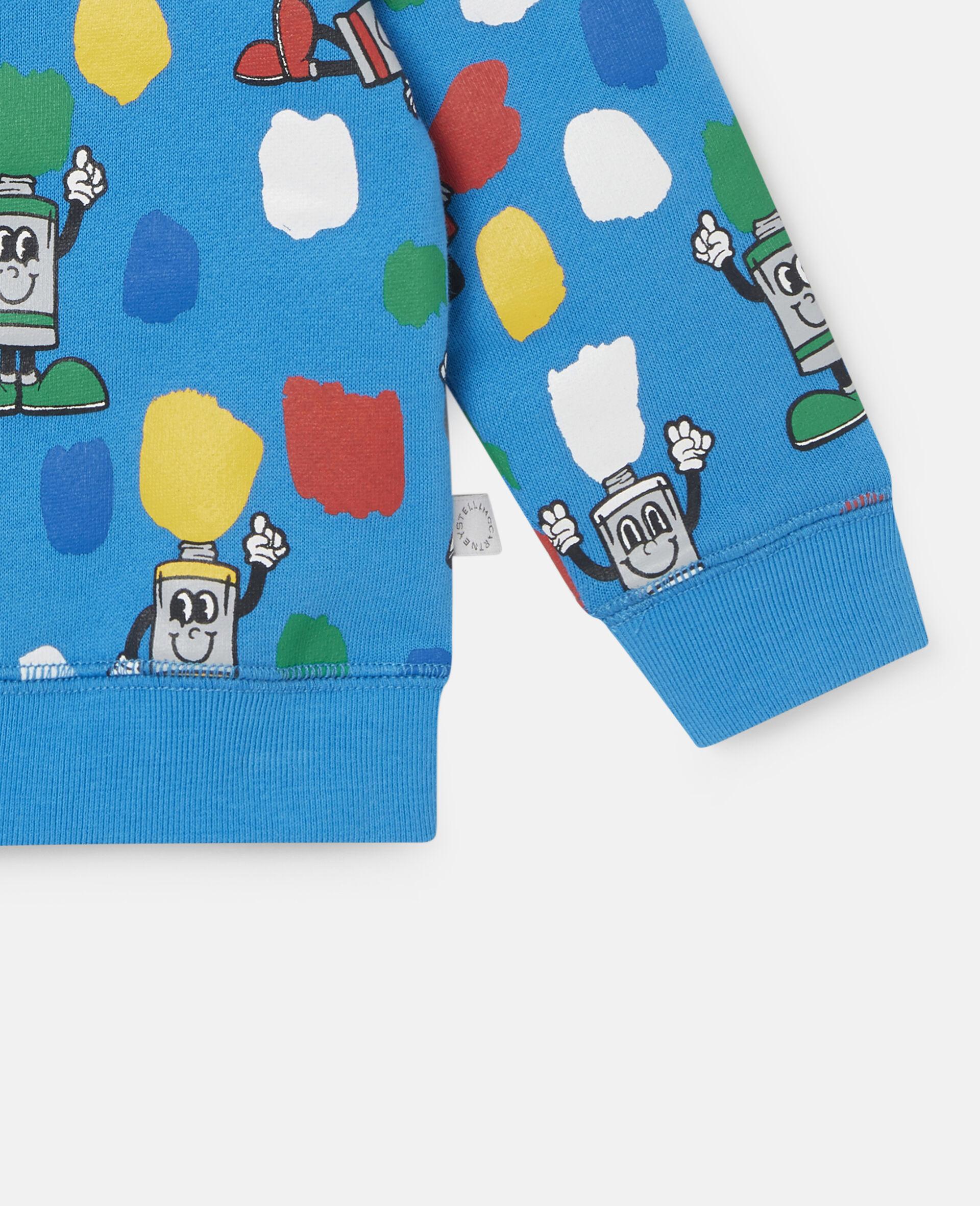 """Fleece-Sweatshirt mit """"Paint Tubes""""-Print-Blau-large image number 2"""