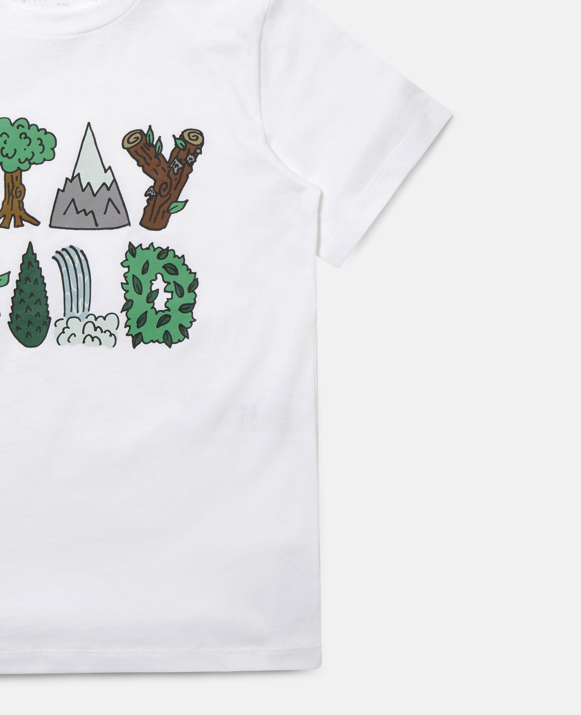 "Baumwoll-T-Shirt mit ""Stay Wild""-Print-Weiß-large image number 1"