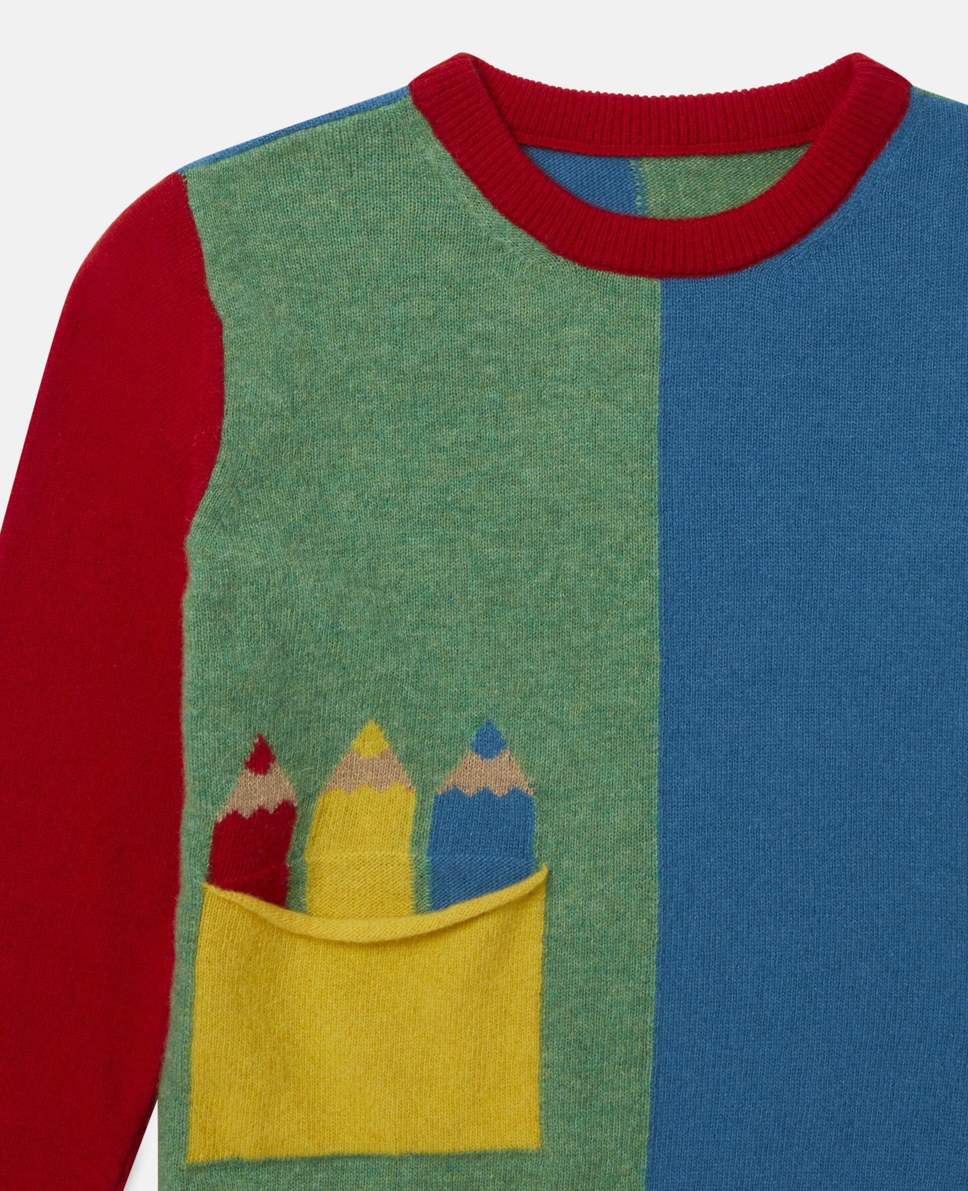 Colourblock Knit Intarsia Jumper -Multicolour-large image number 1