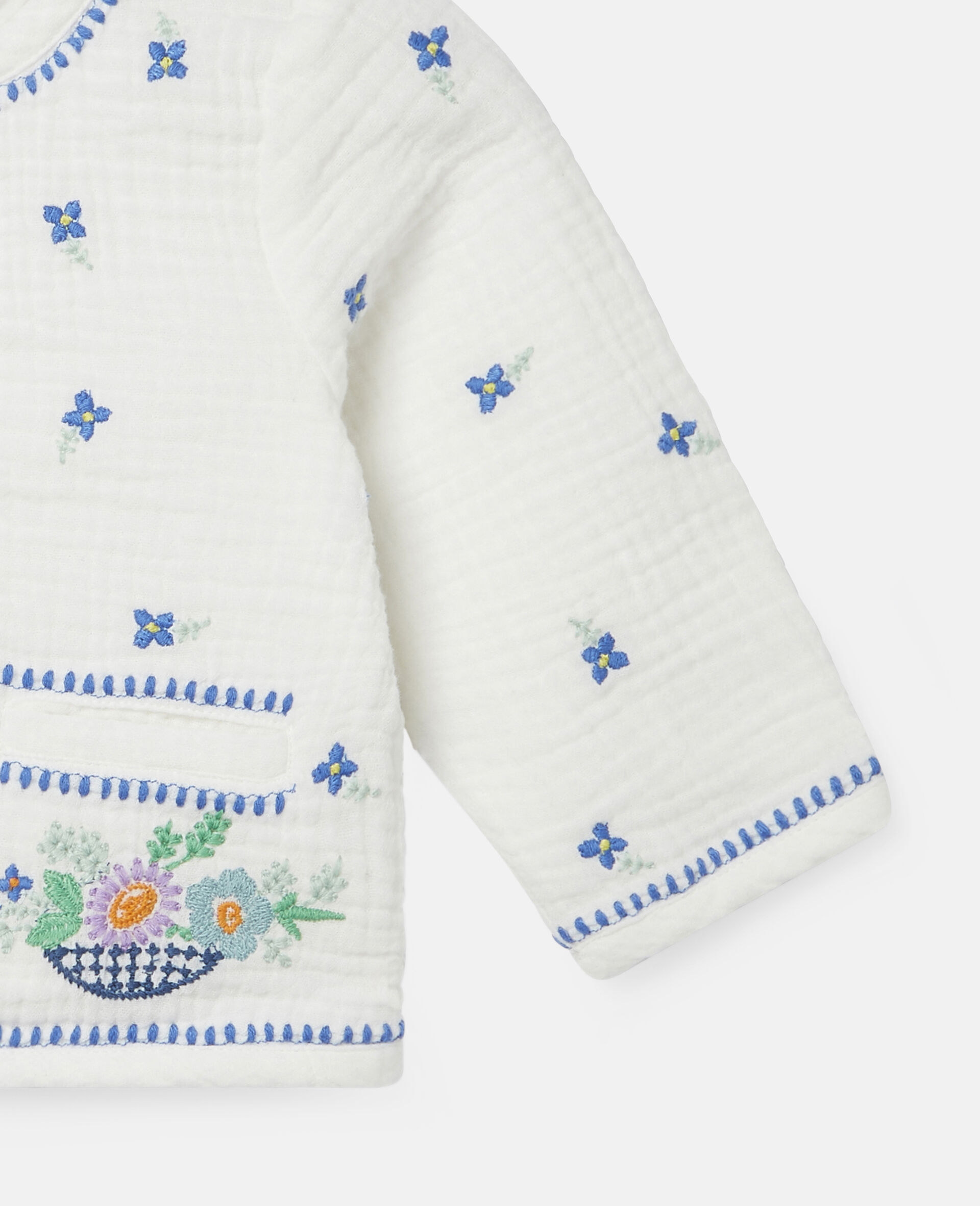 Embroidered Flowers Cotton Jacket-White-large image number 2