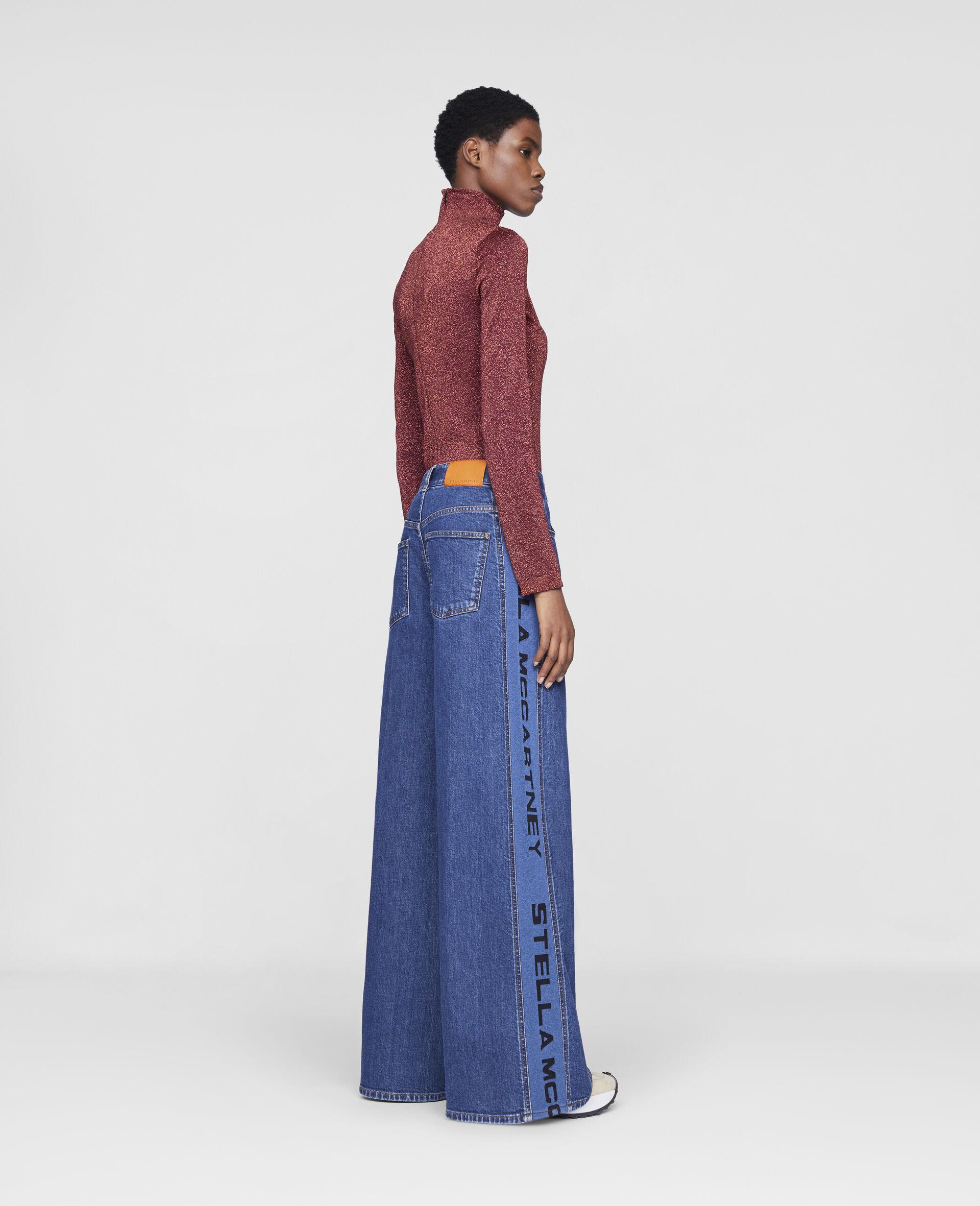 Flared Rib Denim Trousers-Blue-large image number 2