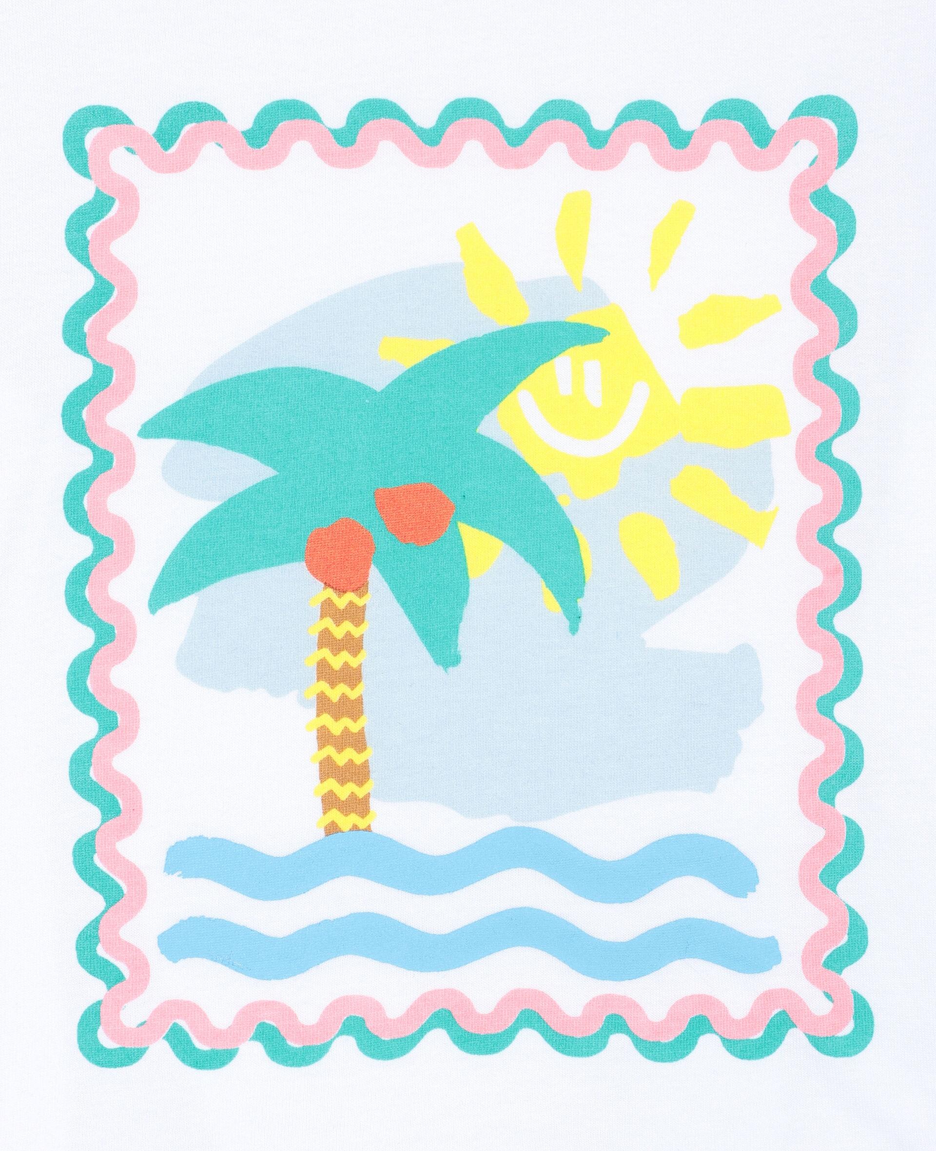 T-shirt en coton à motif carte postale-Blanc-large image number 1