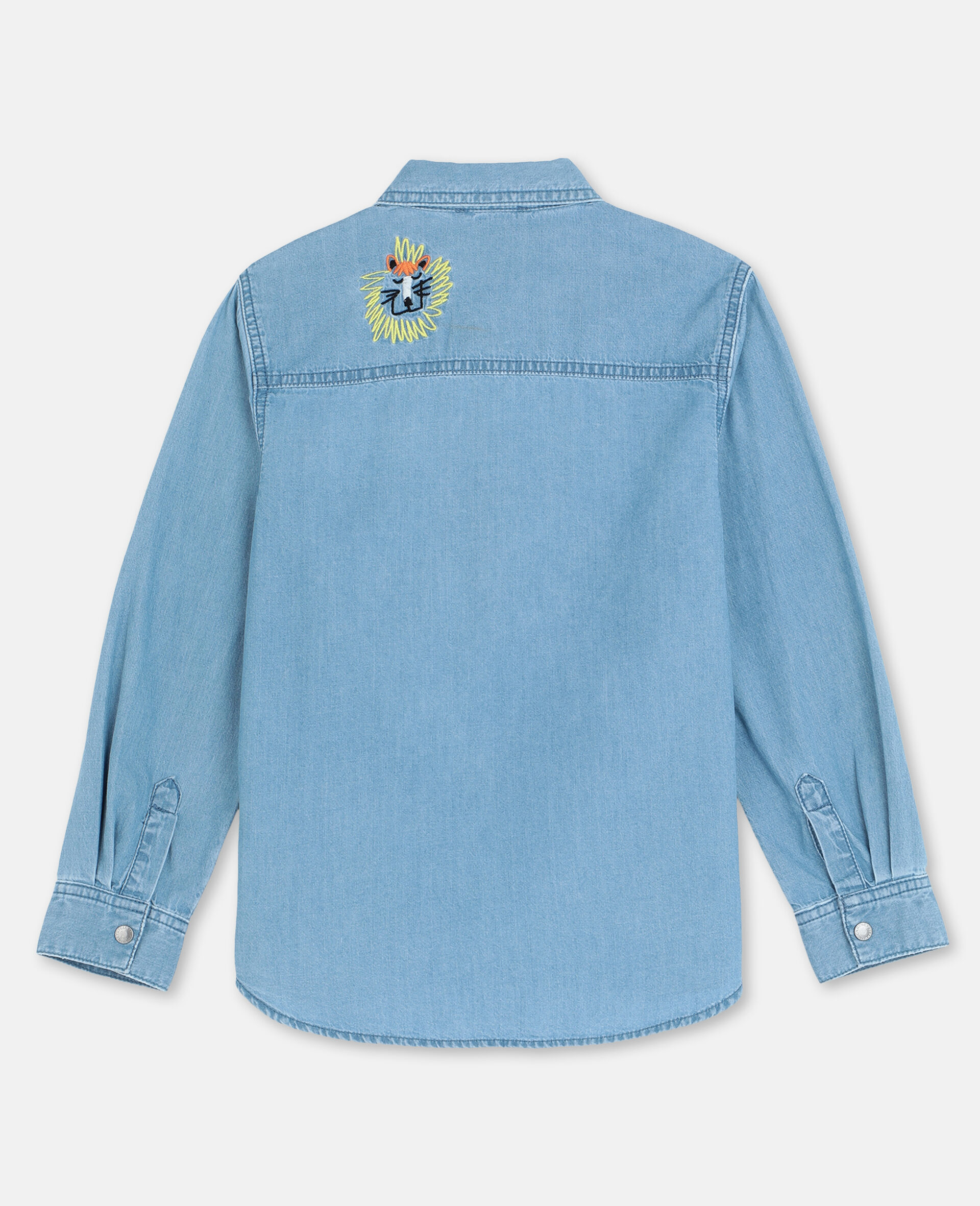 Embroidered Cats Cotton Chambray Shirt -Blue-large image number 3