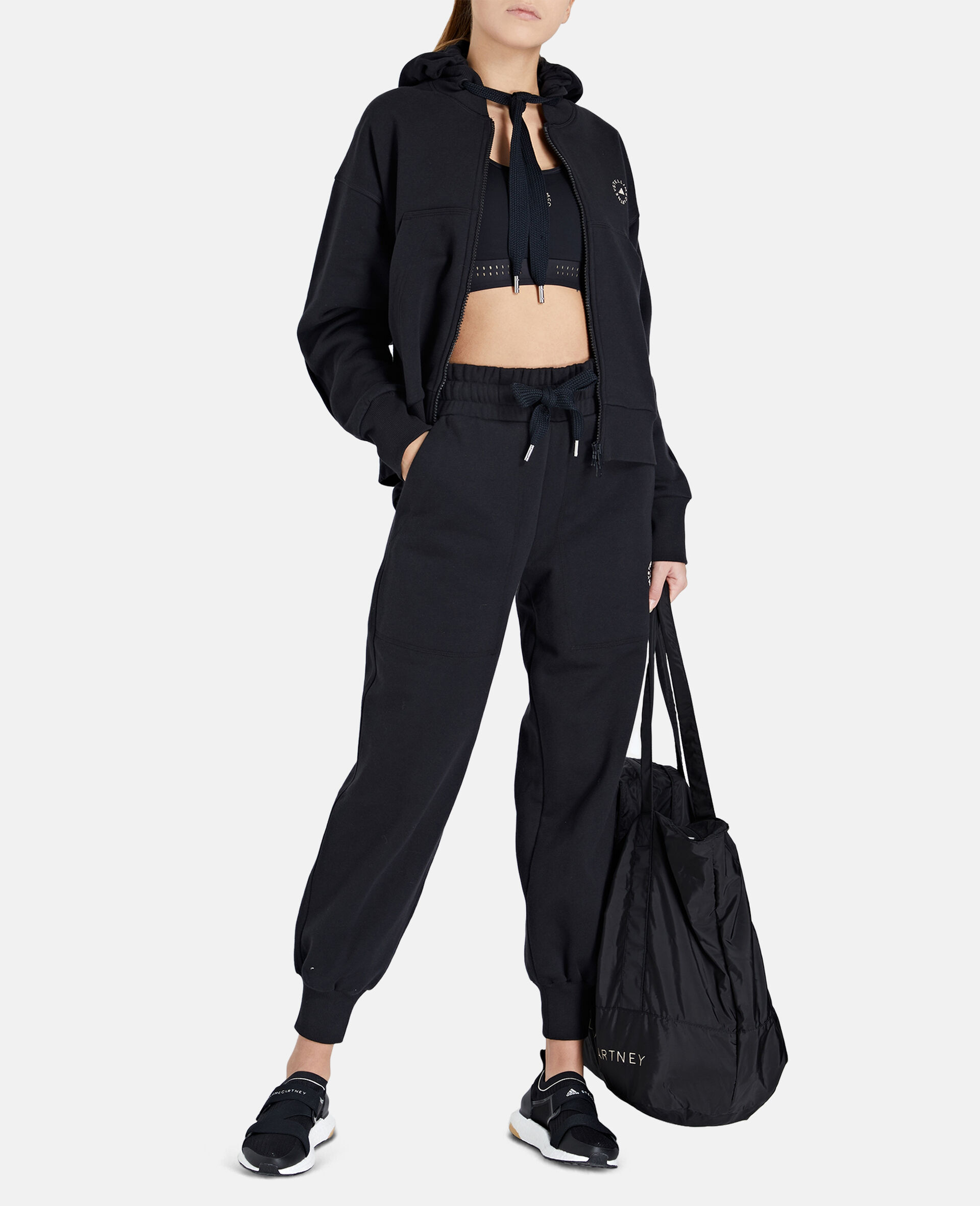 Black Full-zipper Cropped Hoodie-Black-large image number 1