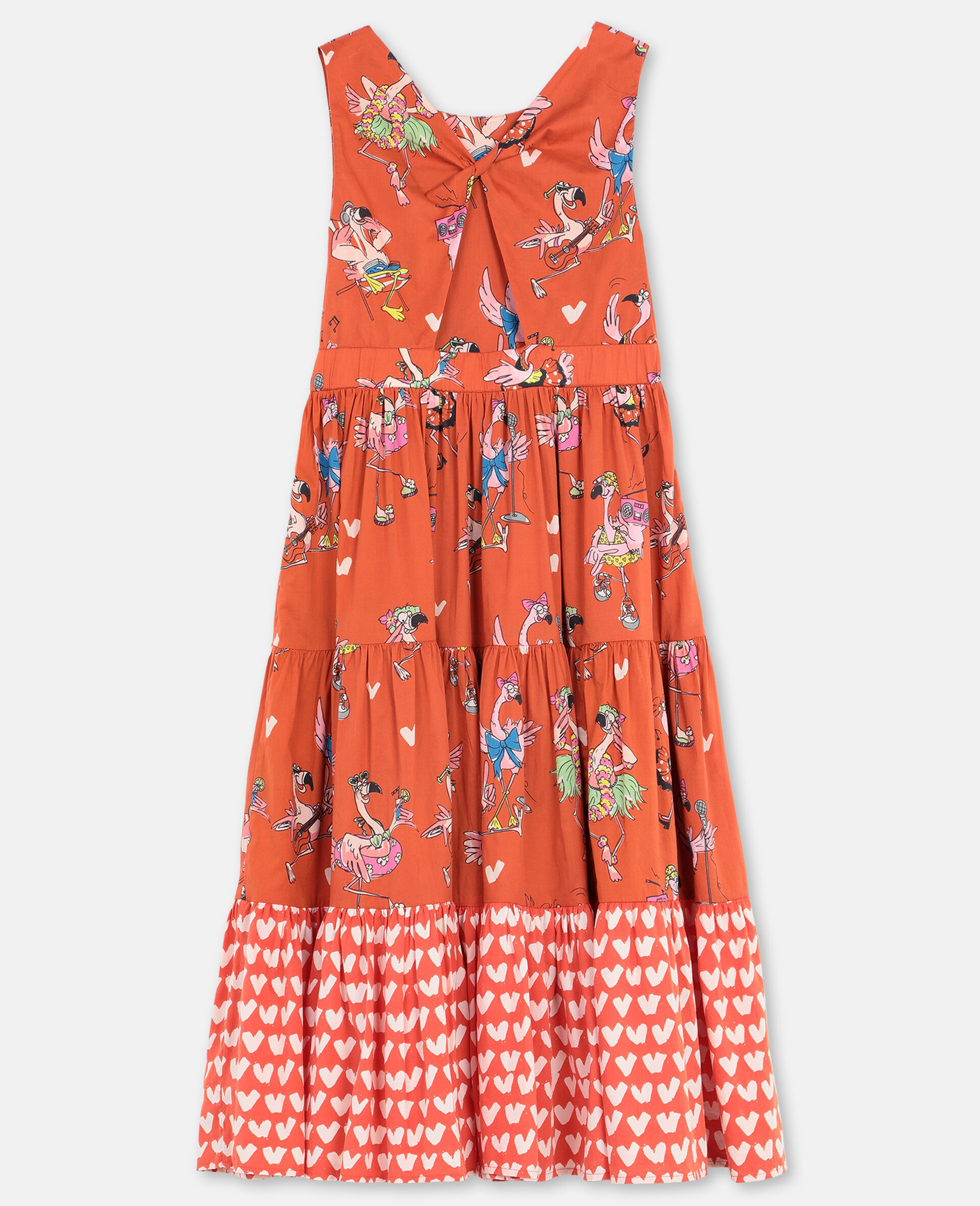 Flamingo Party Cotton Dress-Red-large image number 3